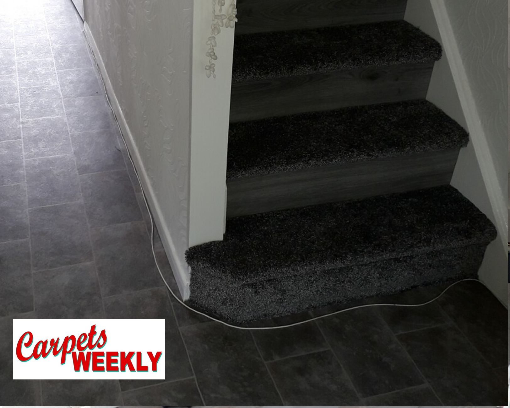 Carpets Weekly Apollo Deep Grey Carpet with Grey Oak laminate and Everest Vinyl