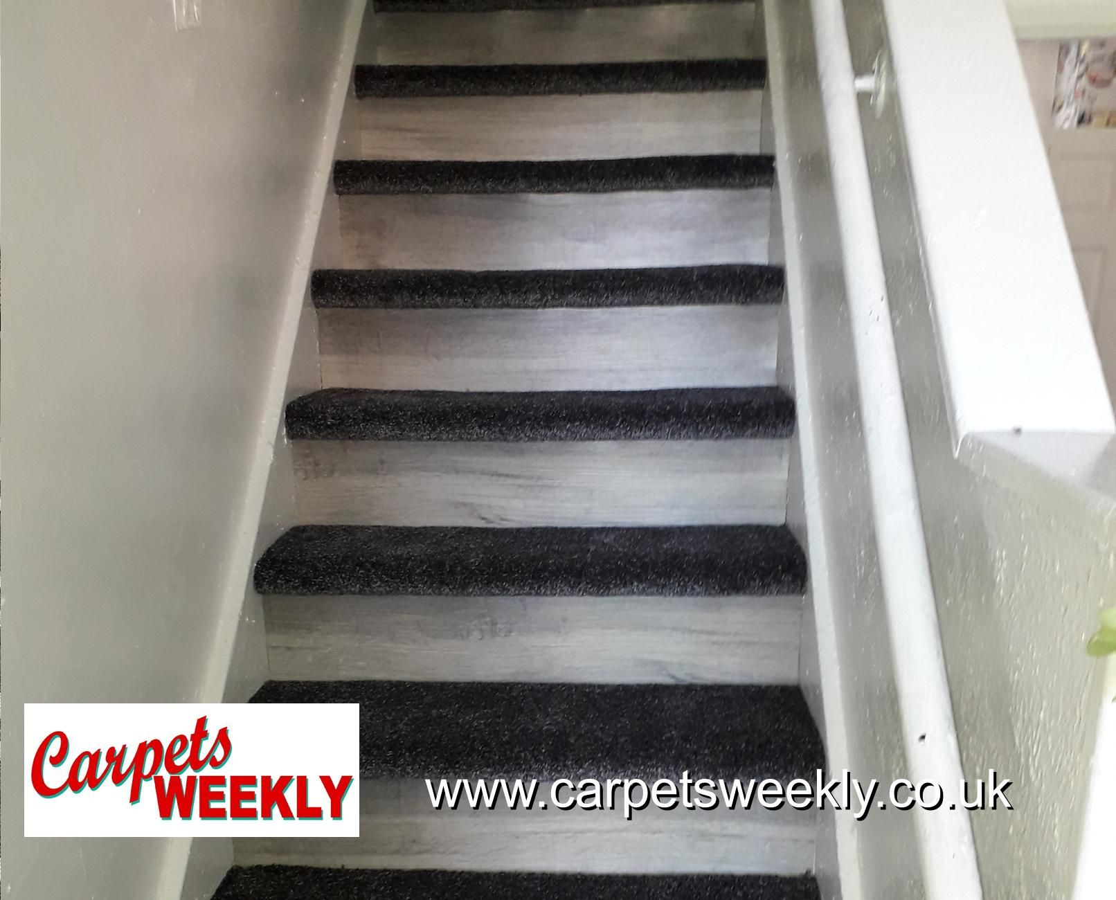 Easipay Carpets Combi Stairs with Apollo Grey and NEW LVT facings 3y Oak laminate Combi 3