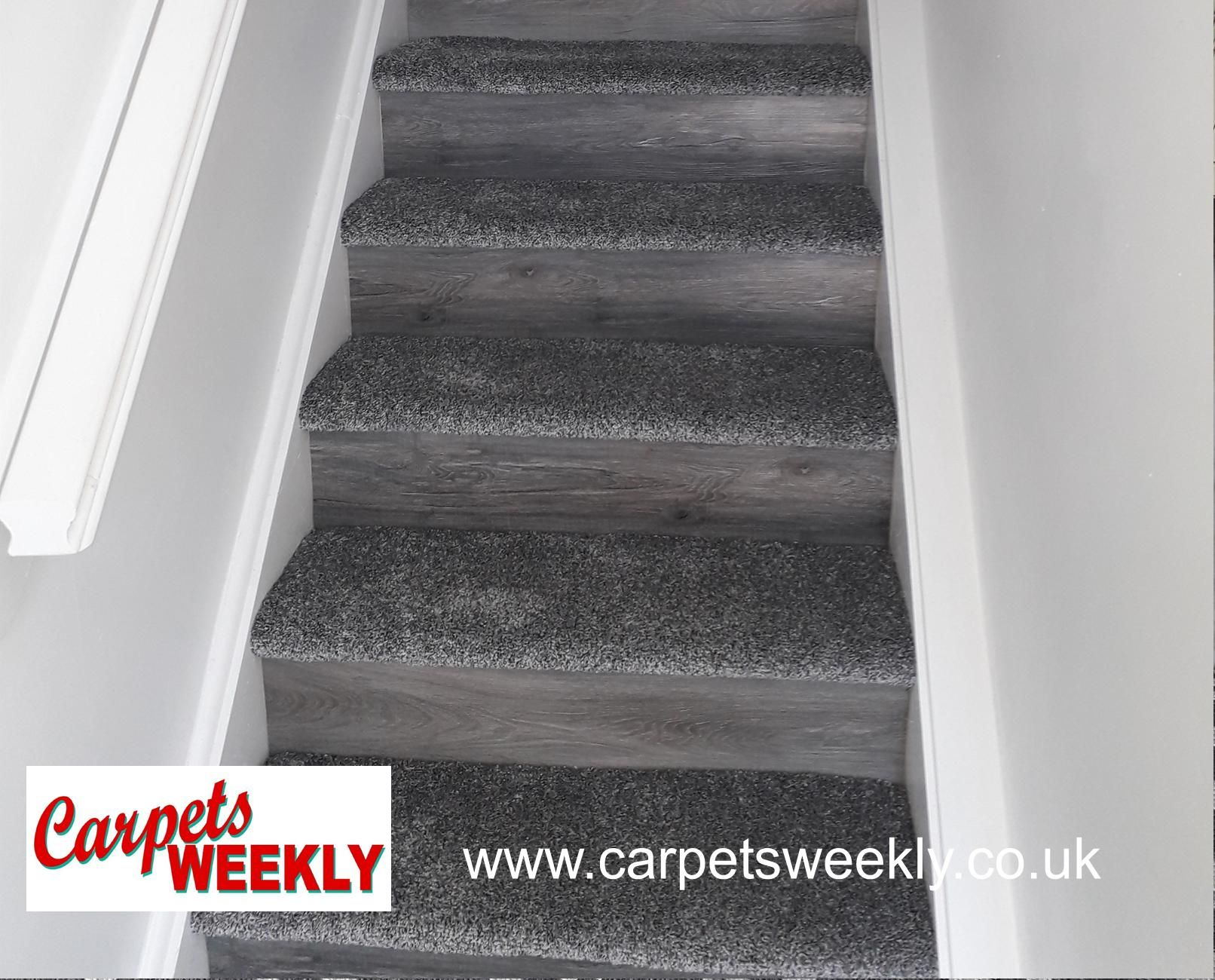 Carpets Weekly Combi Stairs with Apollo Silver Grey and NEW LVT facings