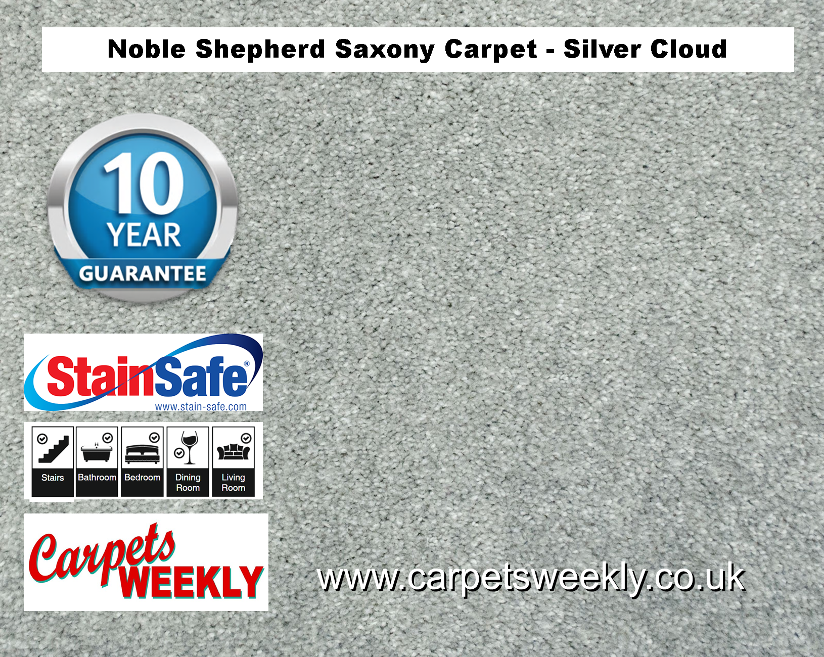 Noble Shepherd Saxony Carpet from Carpets Weekly SILVER CLOUD