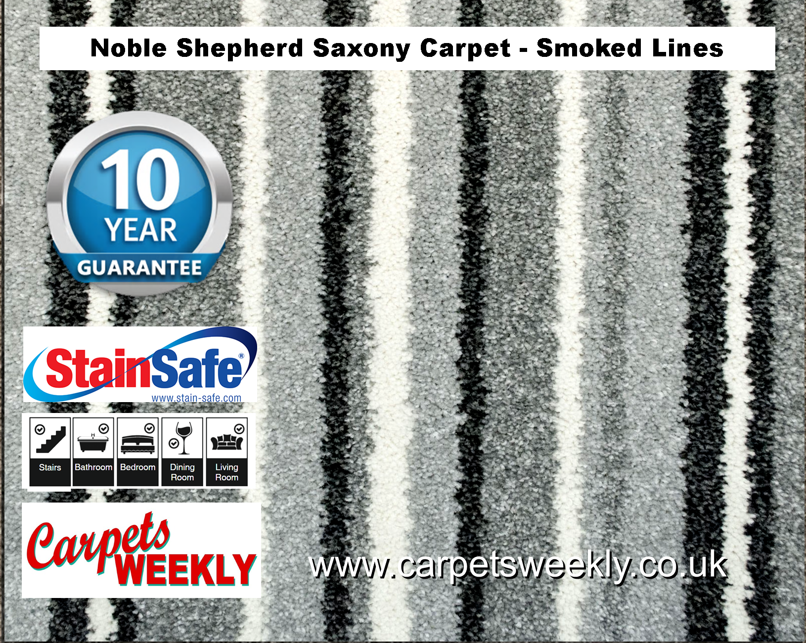 Noble Shepherd Saxony Carpet from Carpets Weekly Smoked Lines