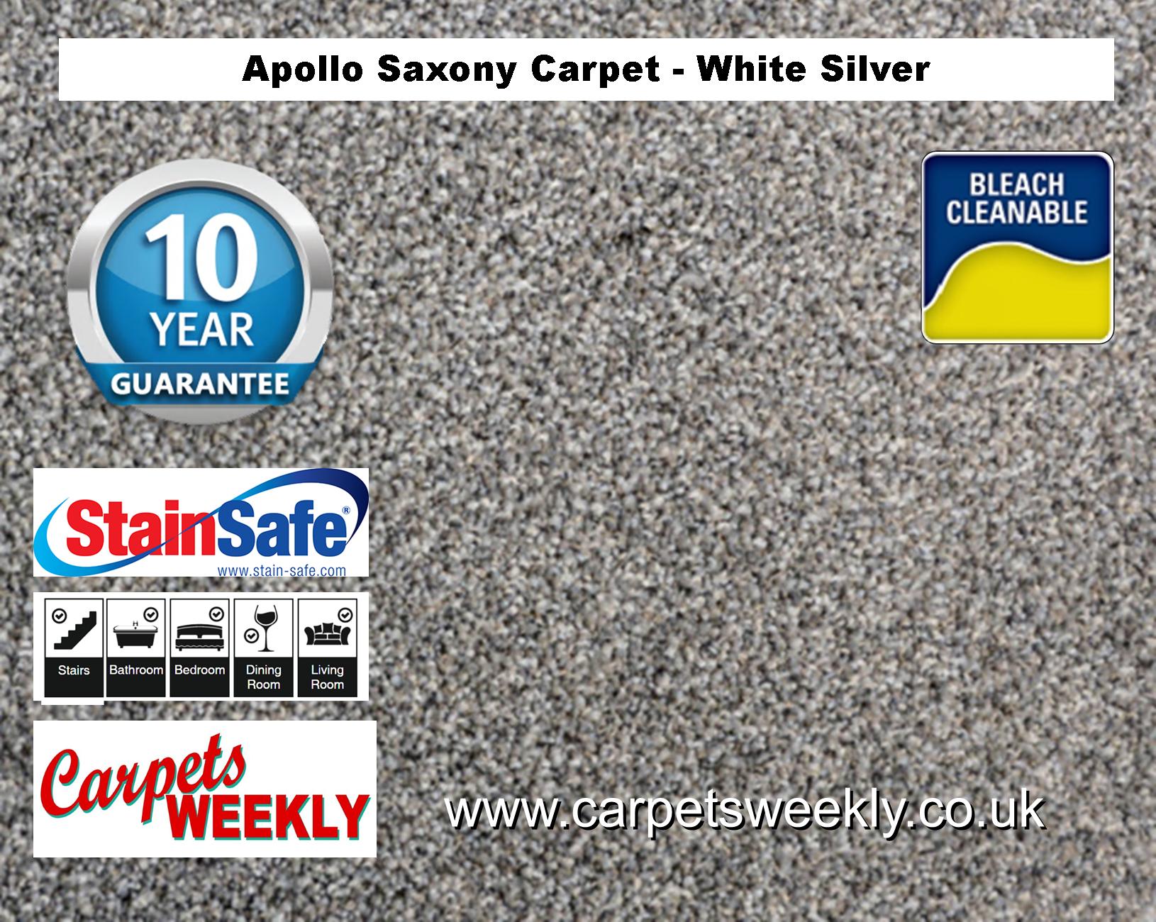 Carpets Weekly Apollo White Silver Luxury Carpet Range