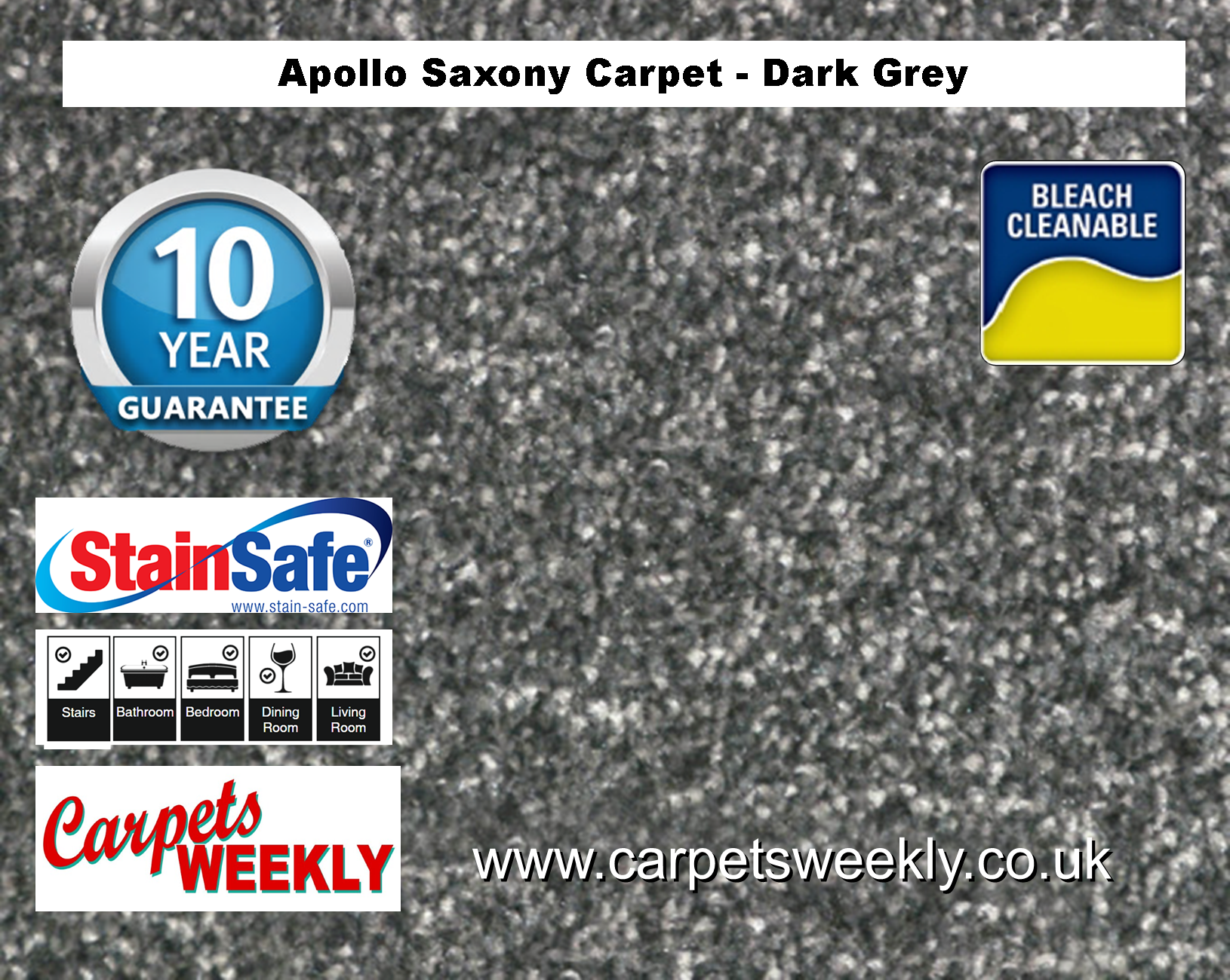Carpets Weekly Apollo Dark Grey Luxury Carpet Range