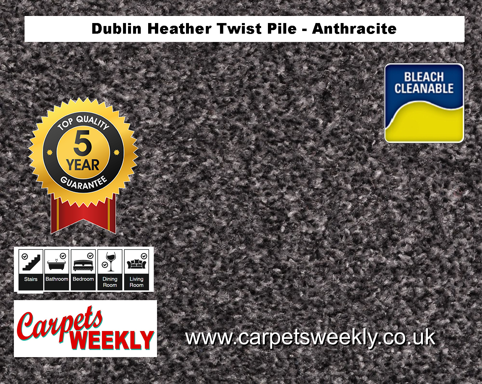 Carpets Weekly Dublin Heather  Anthracite - 158 Mid Range Carpet