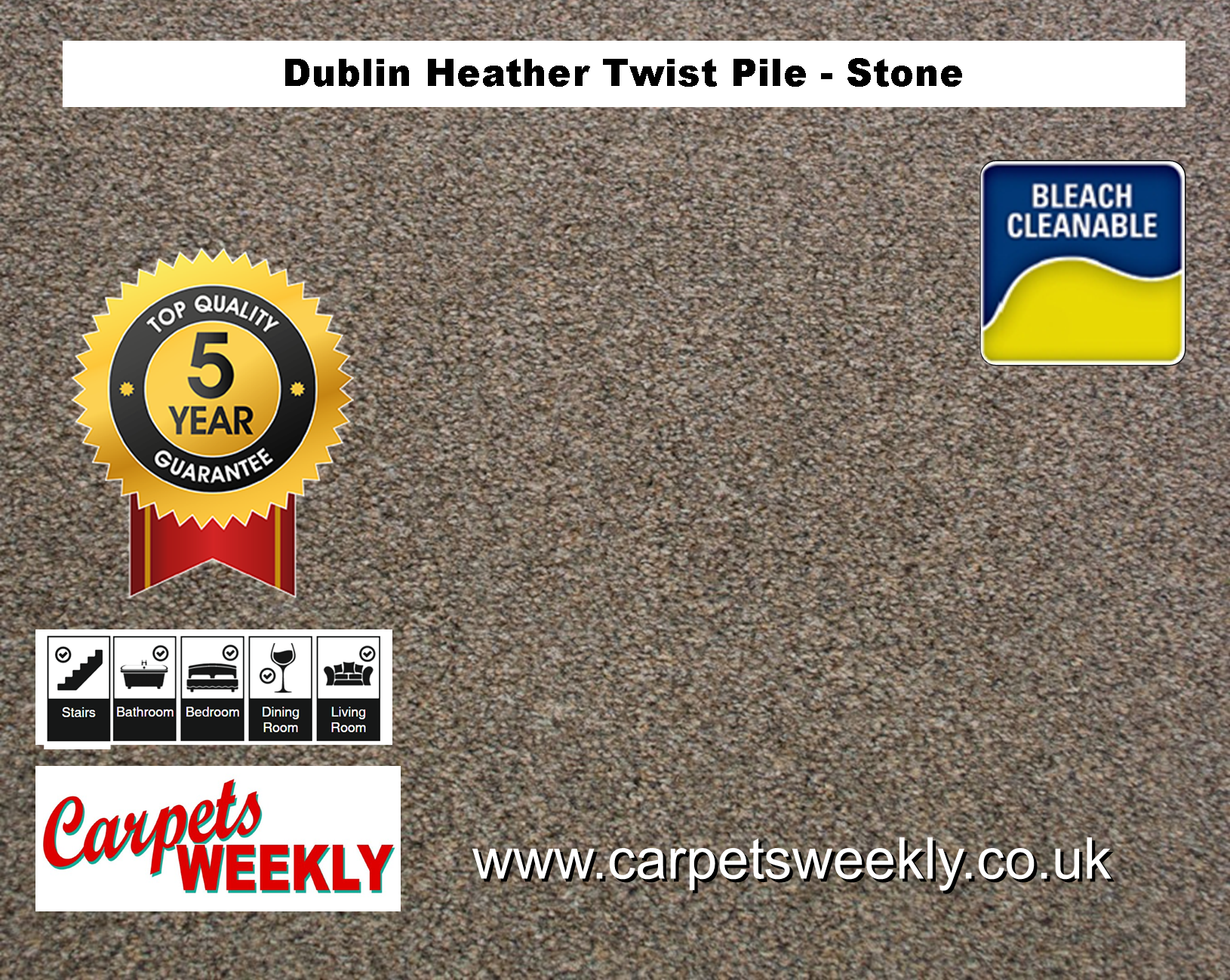 Carpets Weekly Dublin Heather Stone - 116 mid range carpet