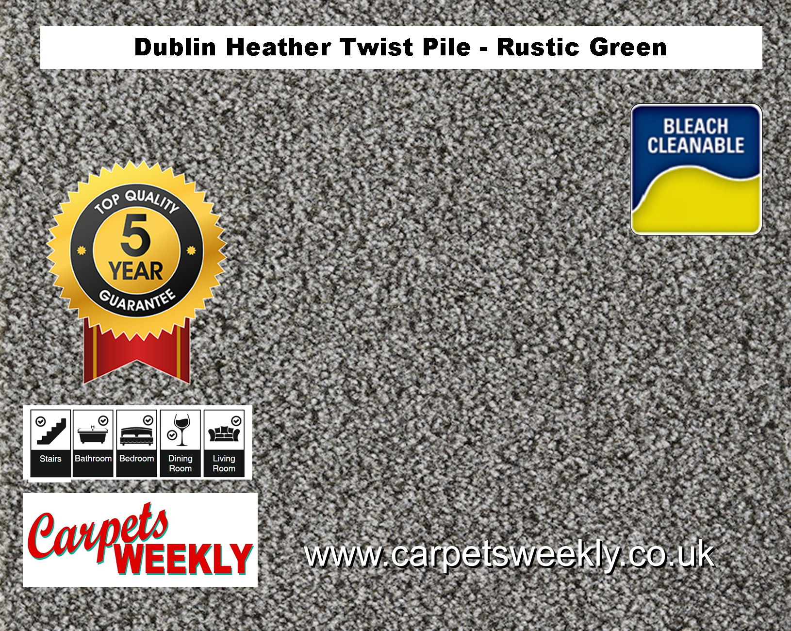 Carpets Weekly Dublin Heather Rustic Green - 229 mid range carpet