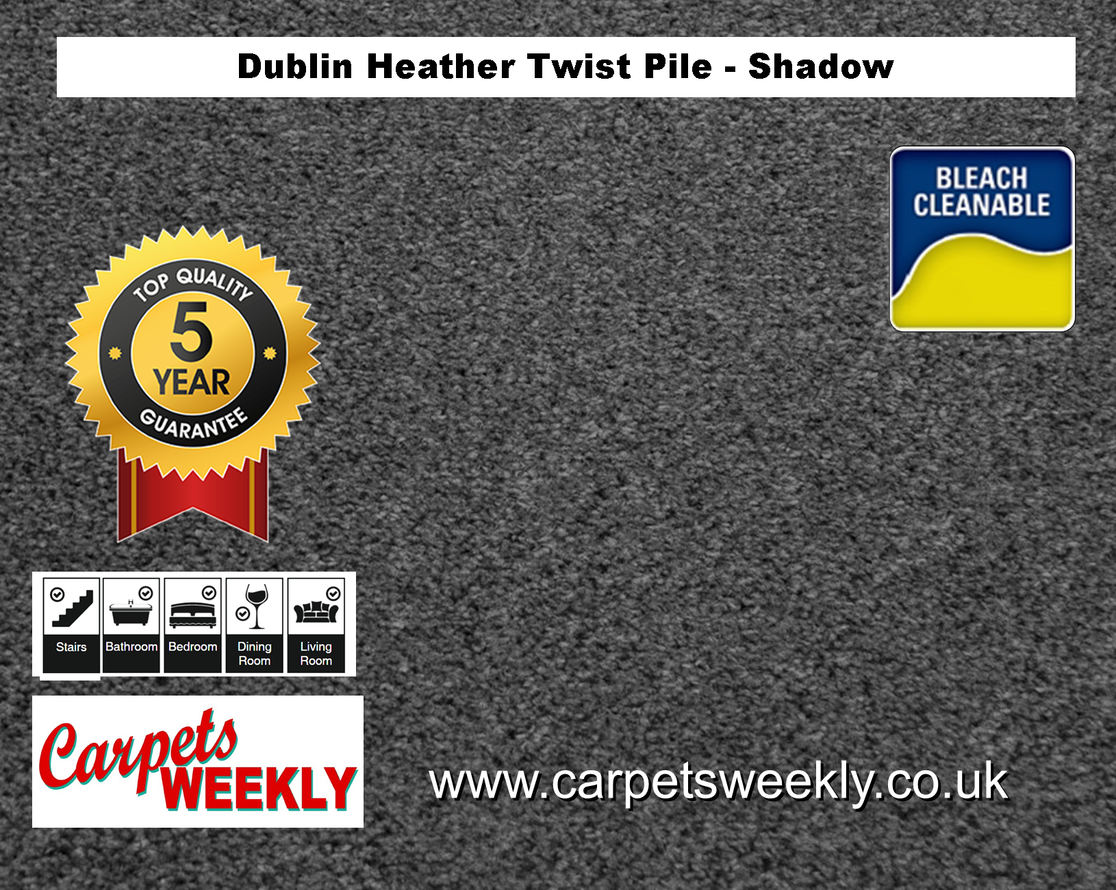 Carpets Weekly Dublin Heather Shadow - 162 mid range carpet