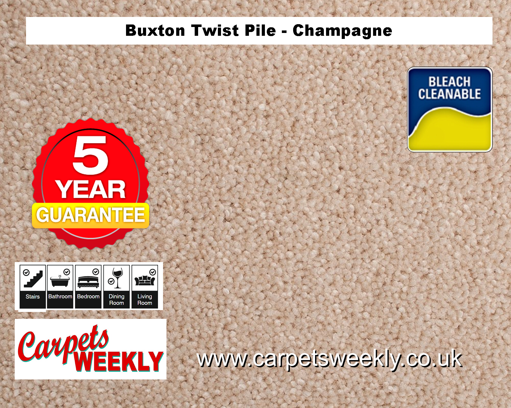 Carpets Weekly Buxton Champagne Hard Wearing Carpet