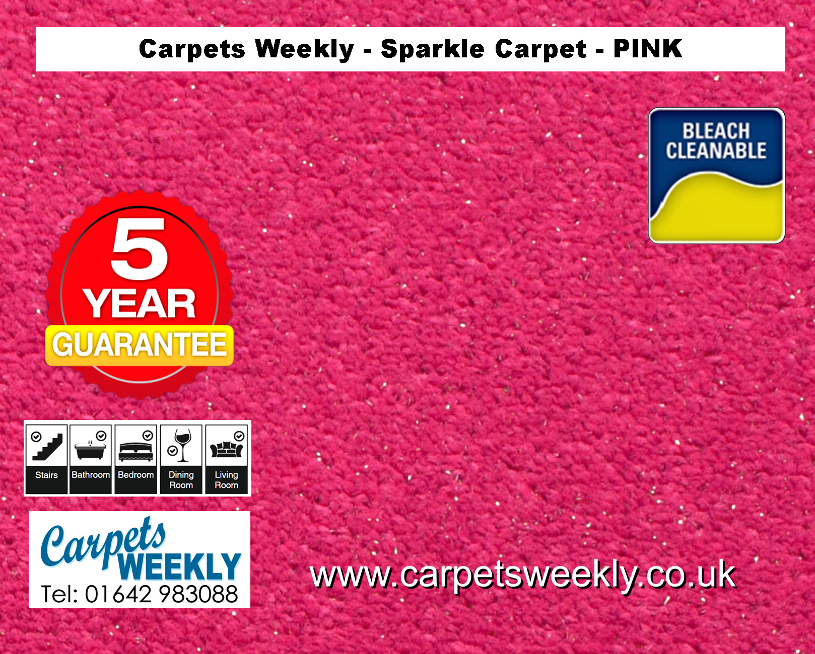 Pink Sparkle Carpet from Carpets Weekly