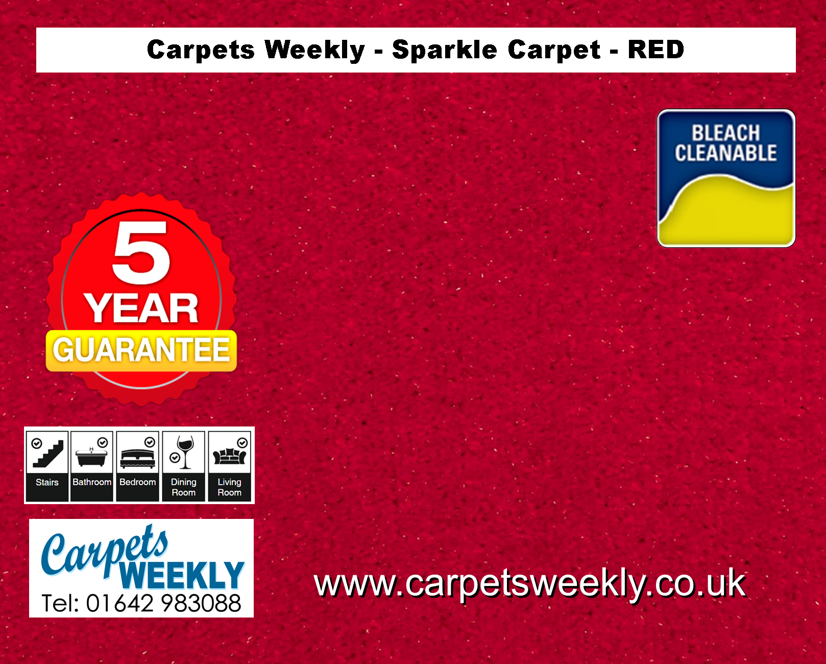 Red Sparkle Carpet from Carpets Weekly
