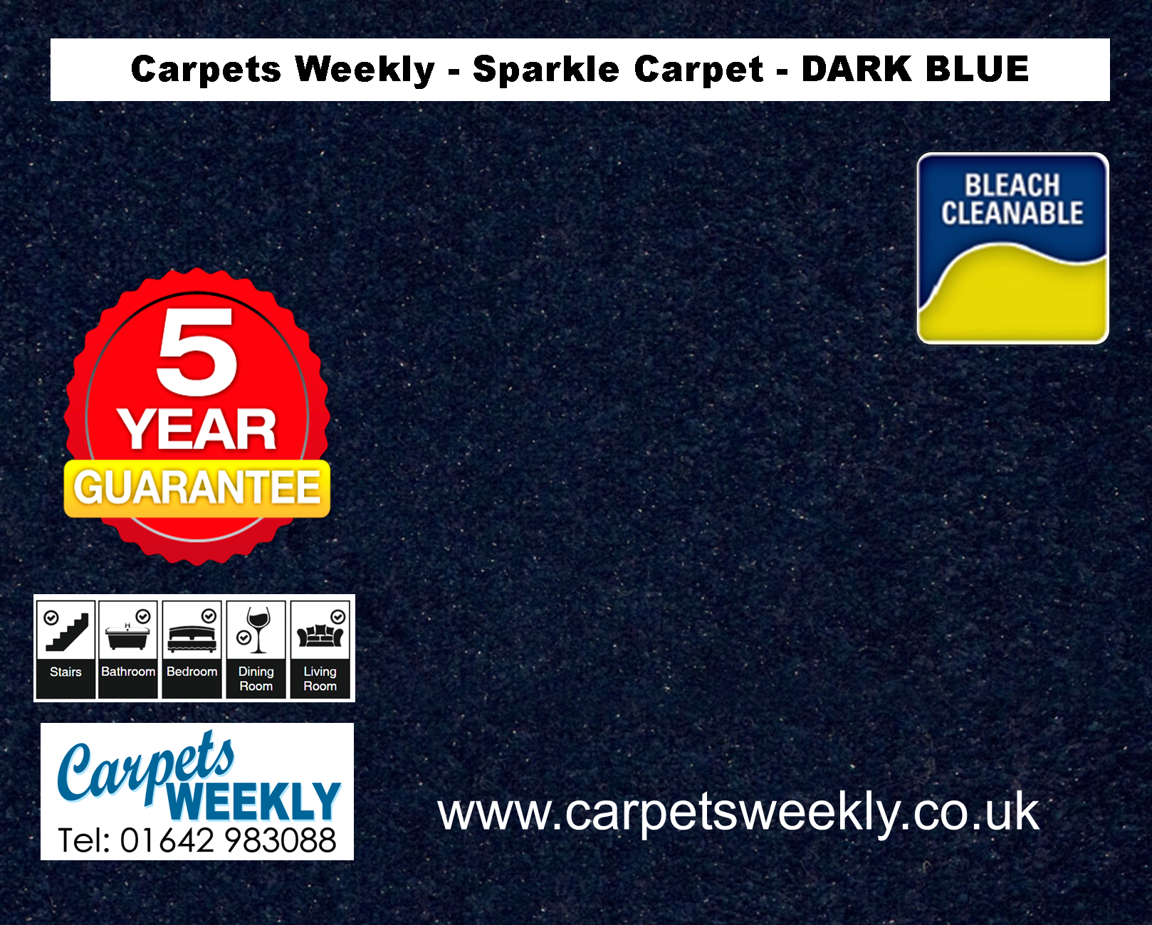 Dark Blue Sparkle Carpet from Carpets Weekly