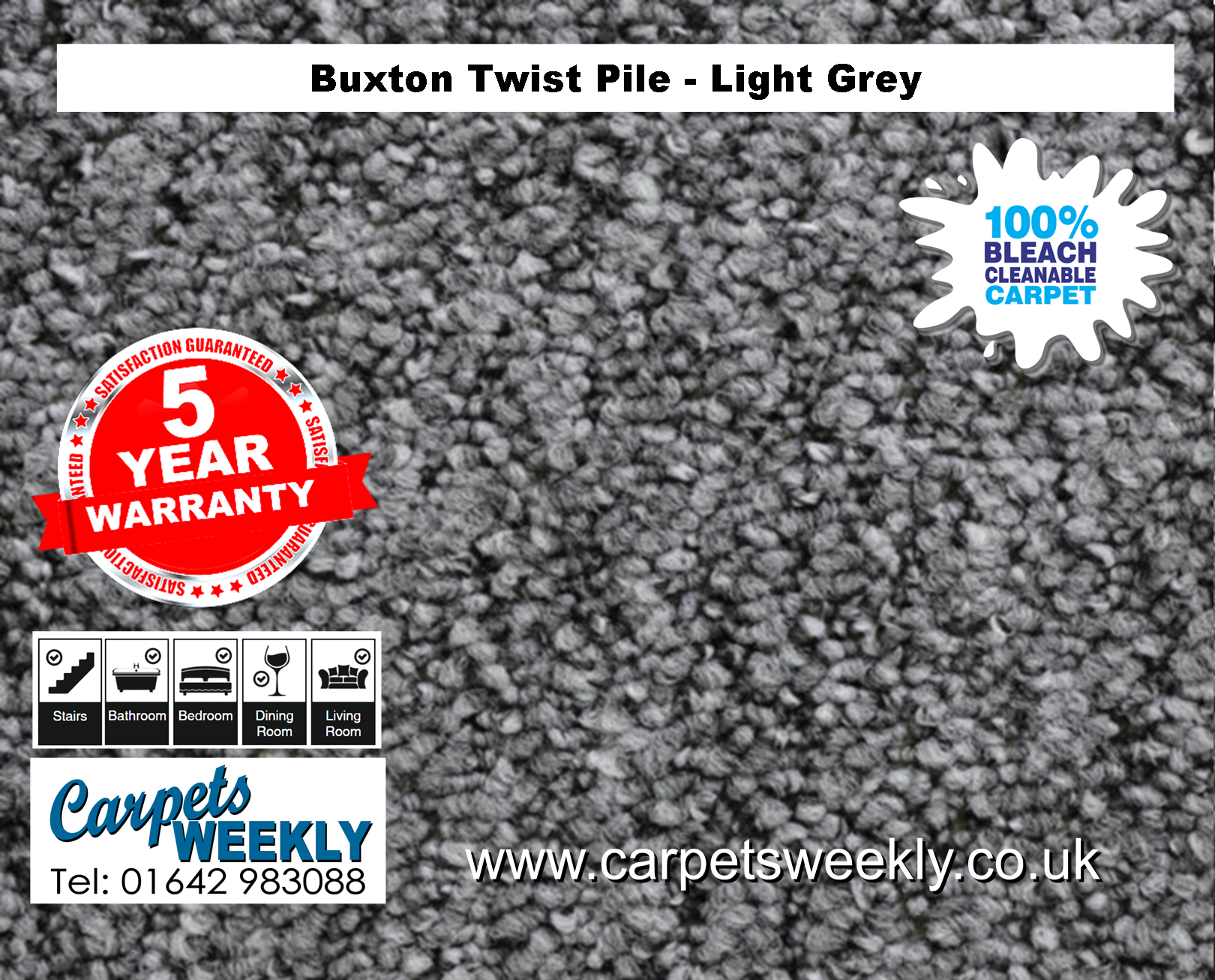 Buxton Monet Twist Pile Carpet Light Grey from Carpets Weekly