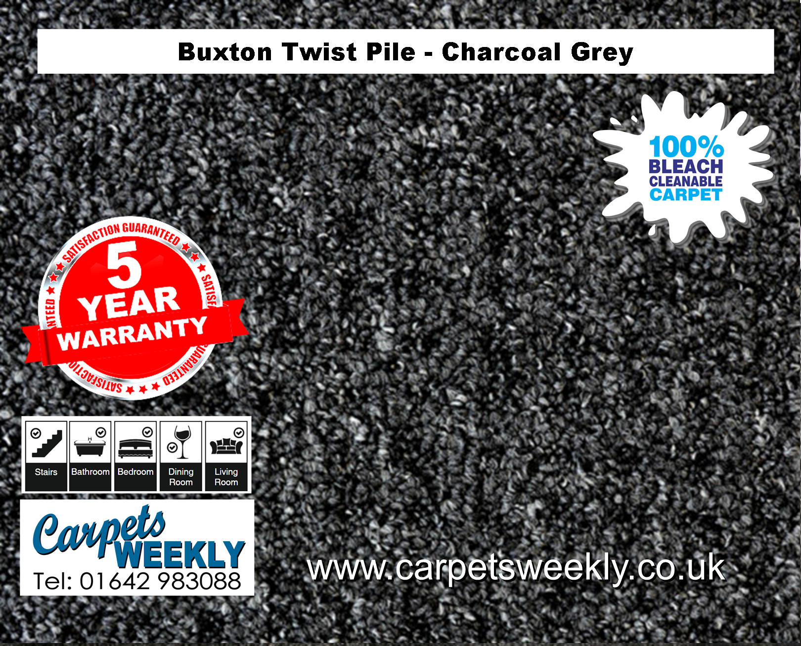 Buxton Monet Twist Pile Carpet Charcoal Grey from Carpets Weekly