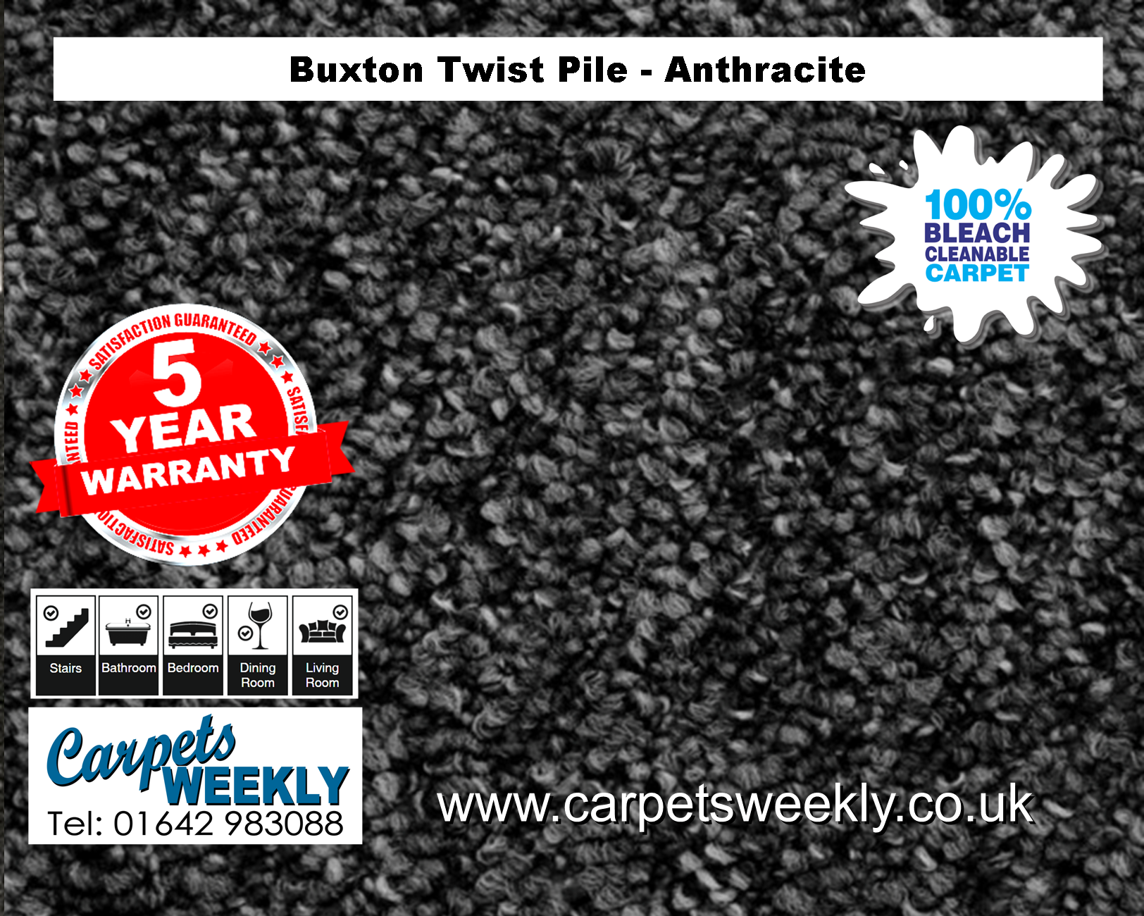 Buxton Monet Twist Pile Carpet Anthracite from Carpets Weekly
