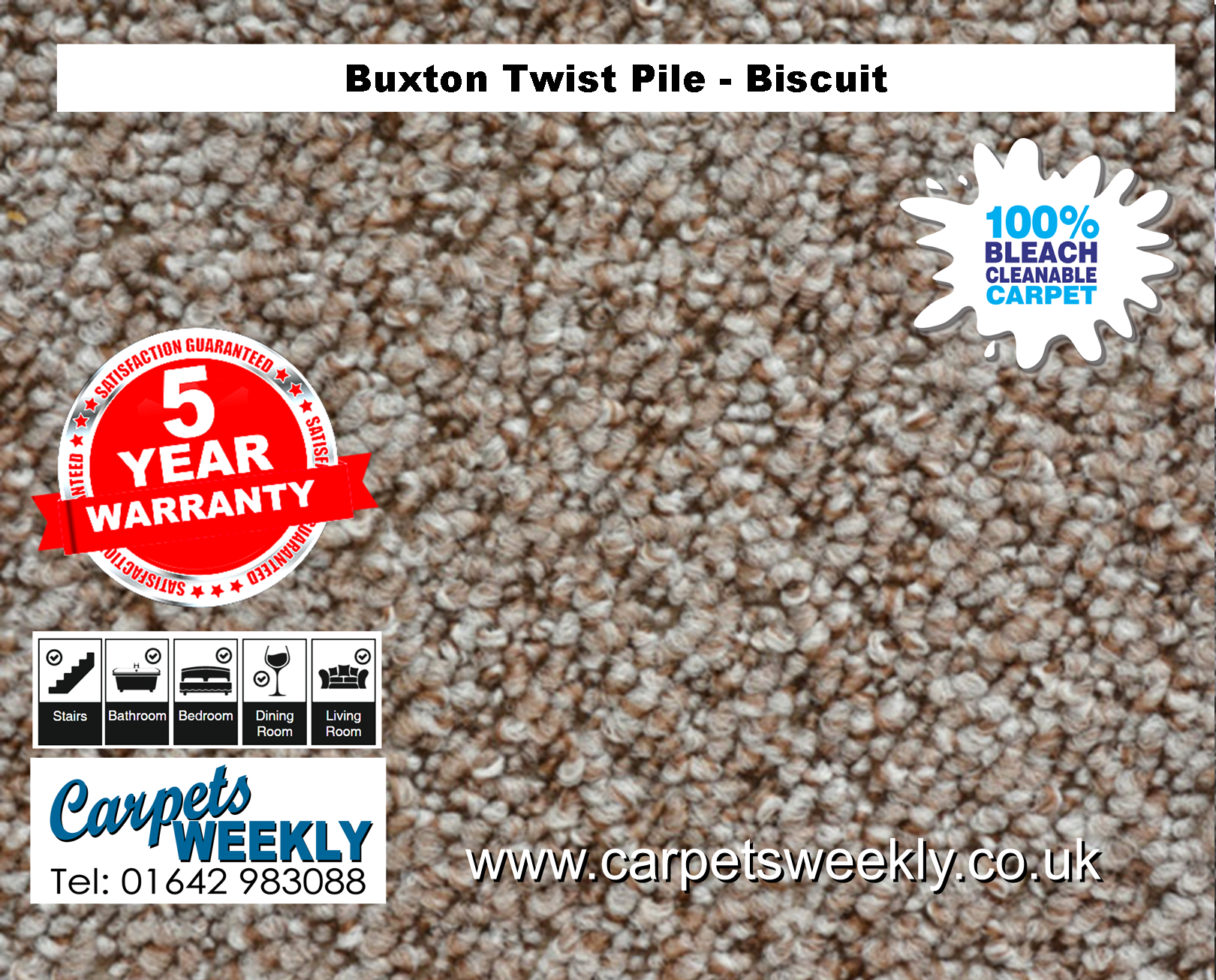 Buxton Monet Twist Pile Carpet Biscuit from Carpets Weekly