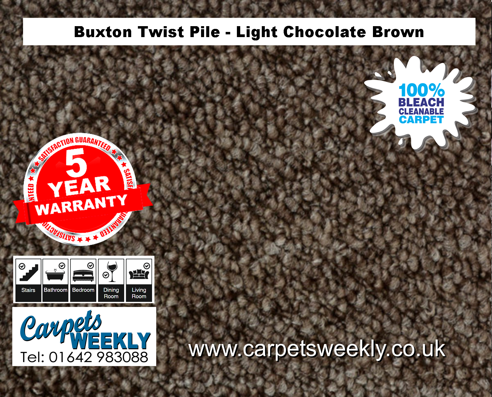 Buxton Monet Twist Pile Carpet Light Chocolate Brown from Carpets Weekly
