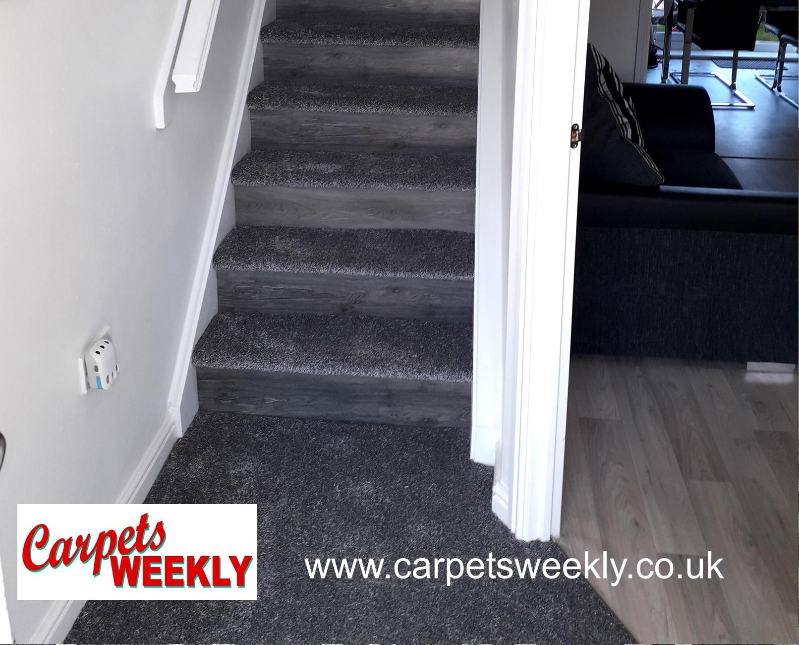 Carpets Weekly, Combi Stairs - Apollo Dark Grey Carpet and NEW Grey Oak LVT on the risers
