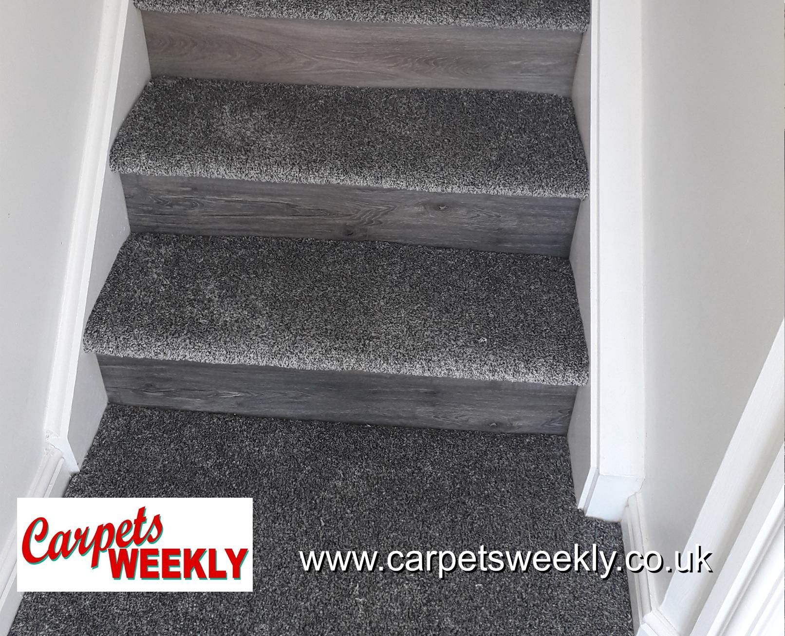 Carpets Weekly, Combi Stairs - Apollo Dark Grey Carpet and NEW Grey Oak LVT on risers