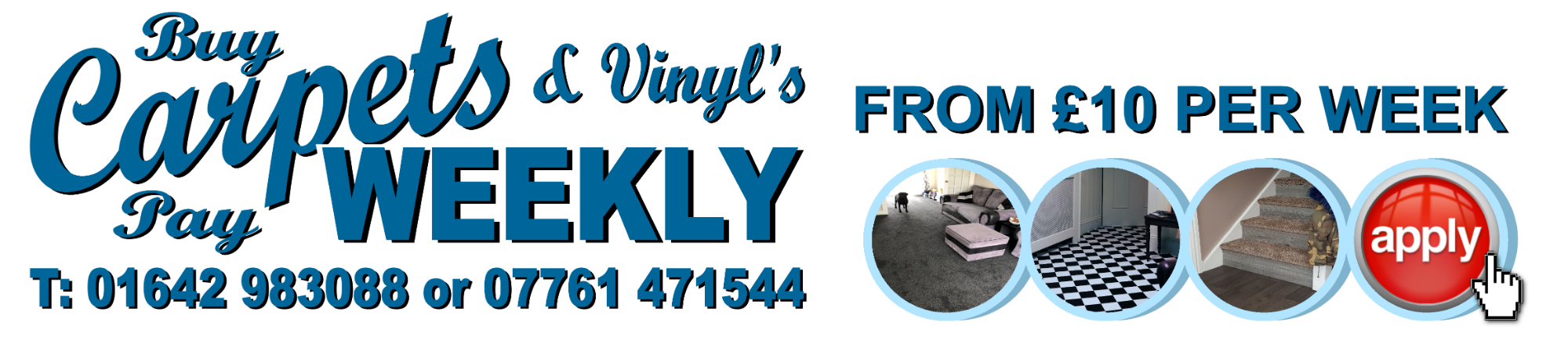 Carpets Weekly available throughout the North East and North Yorkshire. Carpets and Vinyl Flooring from £10 a week.