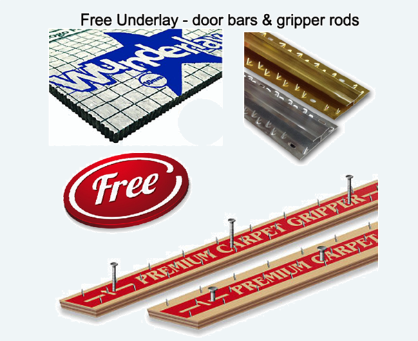Free gripper rods, door trims and quality underlay from Carpets Weekly