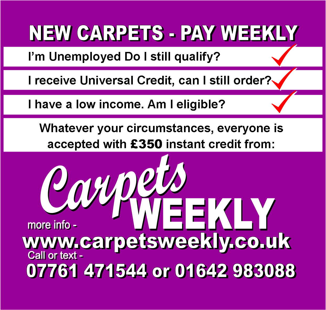 Carpets Weekly Guaranteed Acceptance