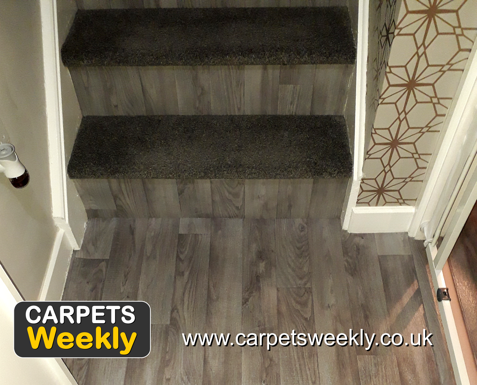 Dublin Heather Shadows and Sandiargo Vinyl Combi Stairs (a)from Carpets Weekly