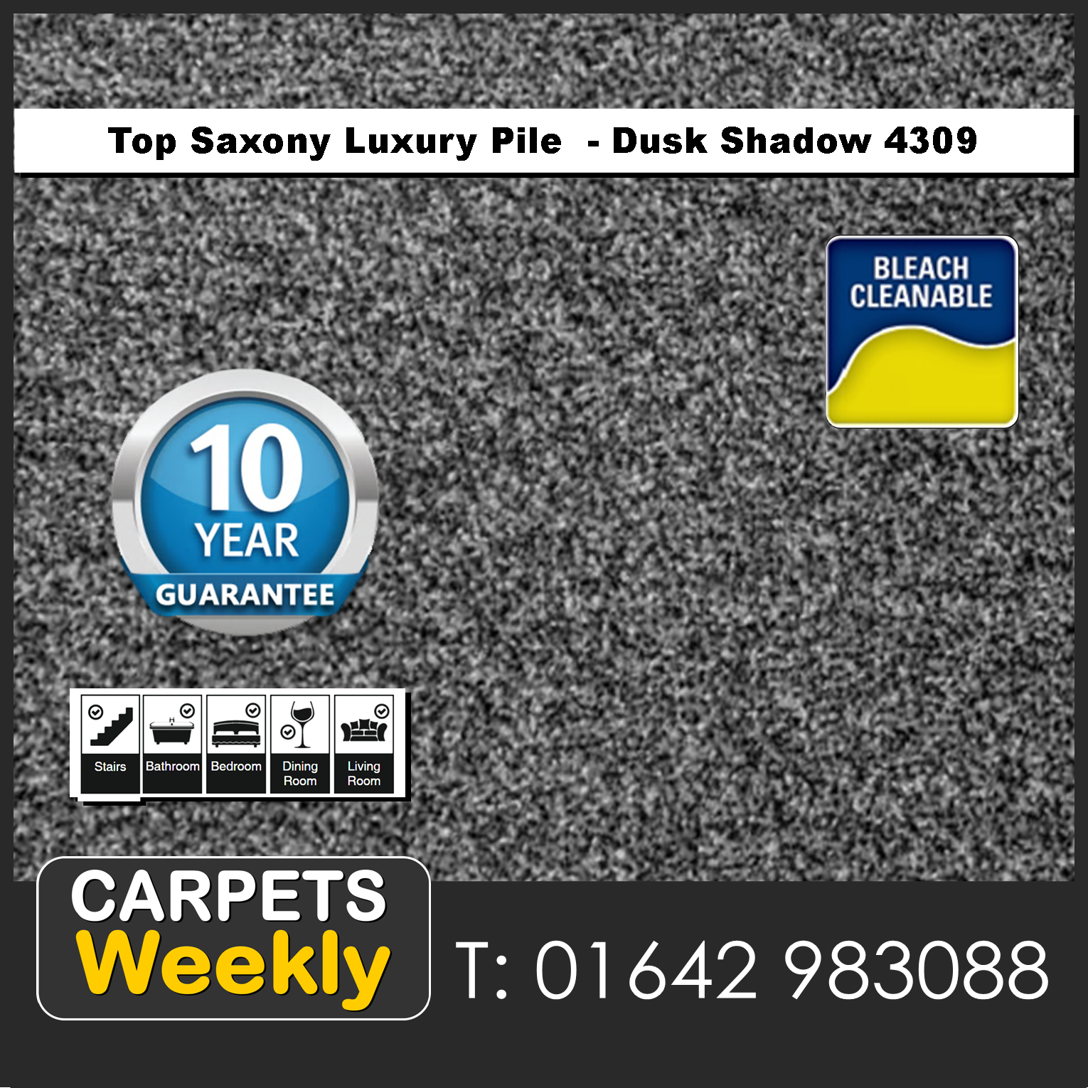 Top Saxony Dark Shadow - 4309 Carpets Weekly