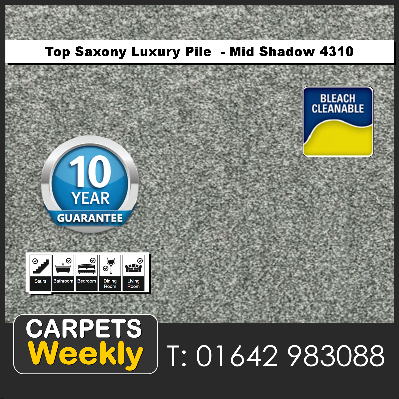 Top Saxony Mid Shadow - 4310 Carpet. Carpets Weekly
