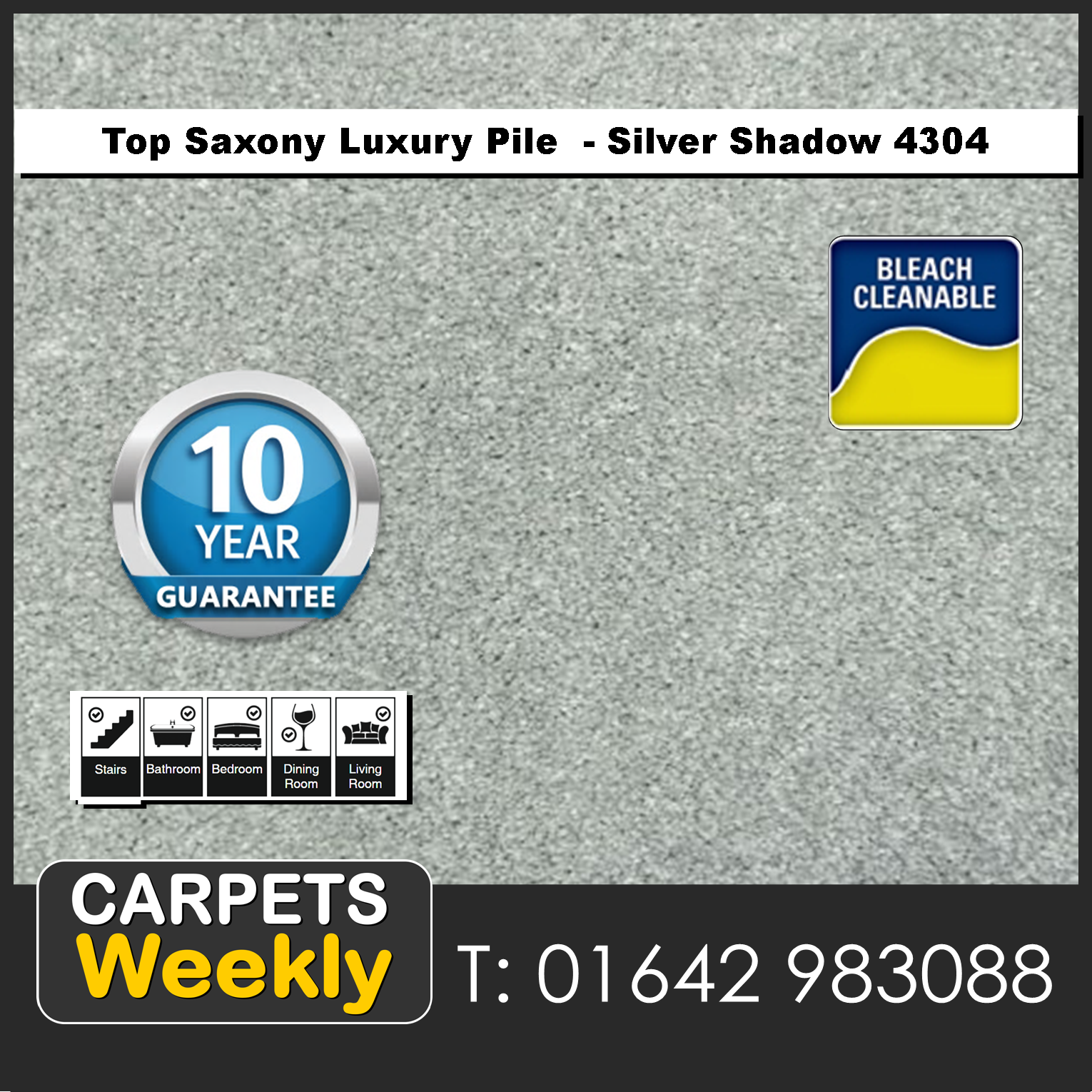 Top Saxony Silver Shadow - 4304 Carpet. Carpets Weekly