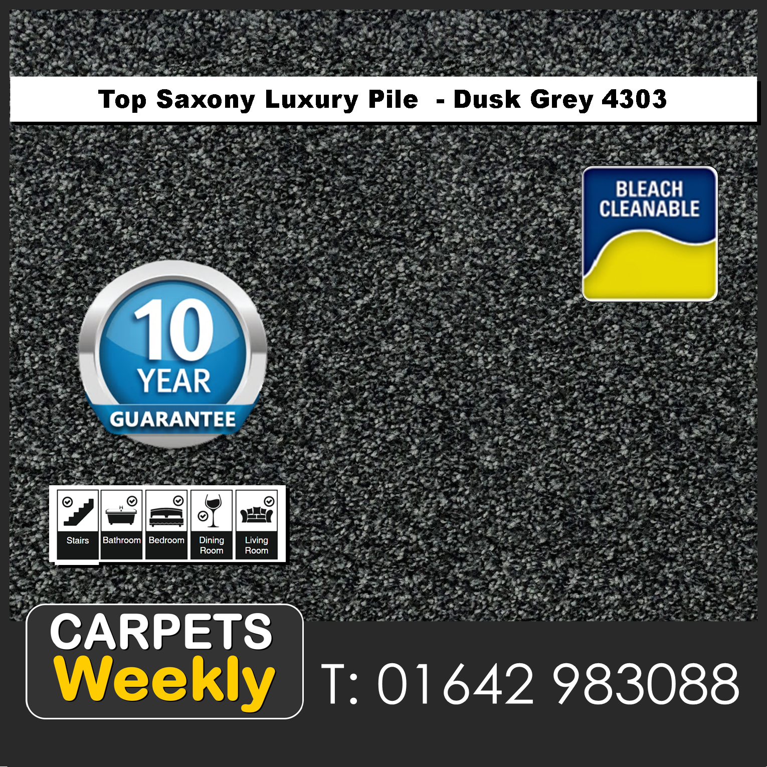 Top Saxony Dusk Grey - 4302 Carpet. Carpets Weekly