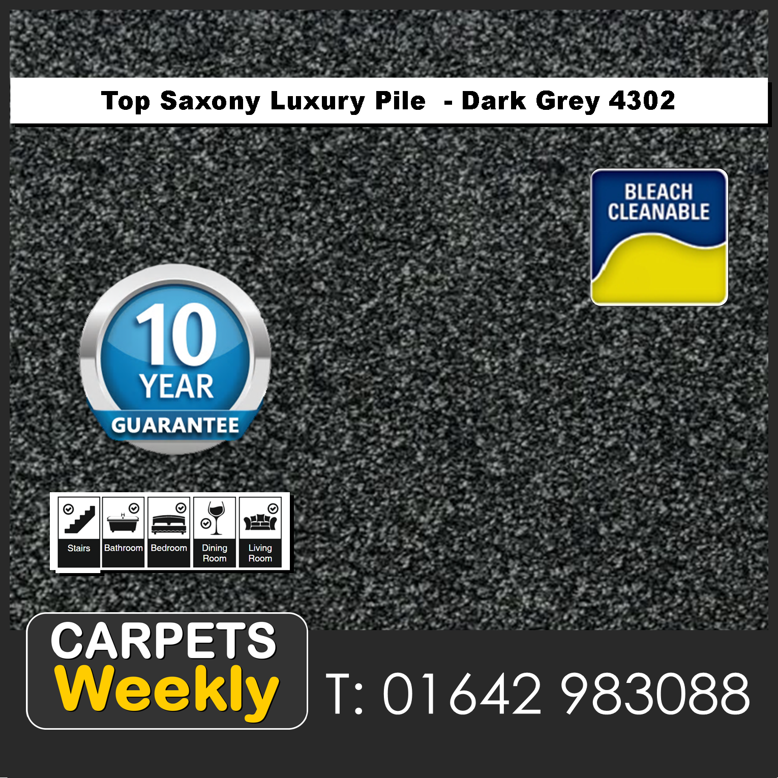 Top Saxony Dark Grey 4302 Carpet. Carpets Weekly