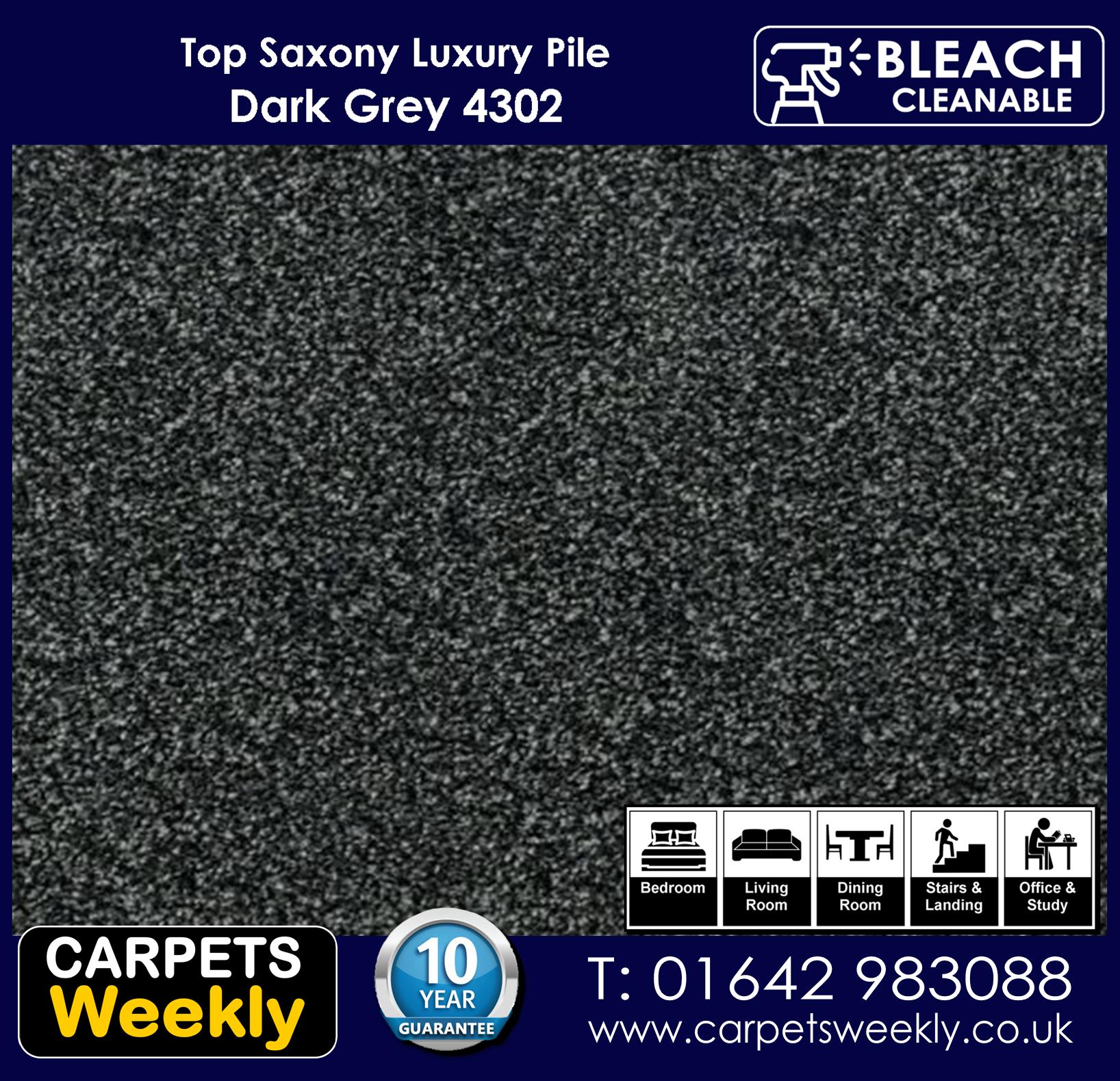 Top Saxony Dark Grey 4302 Carpet. Carpets Weekly