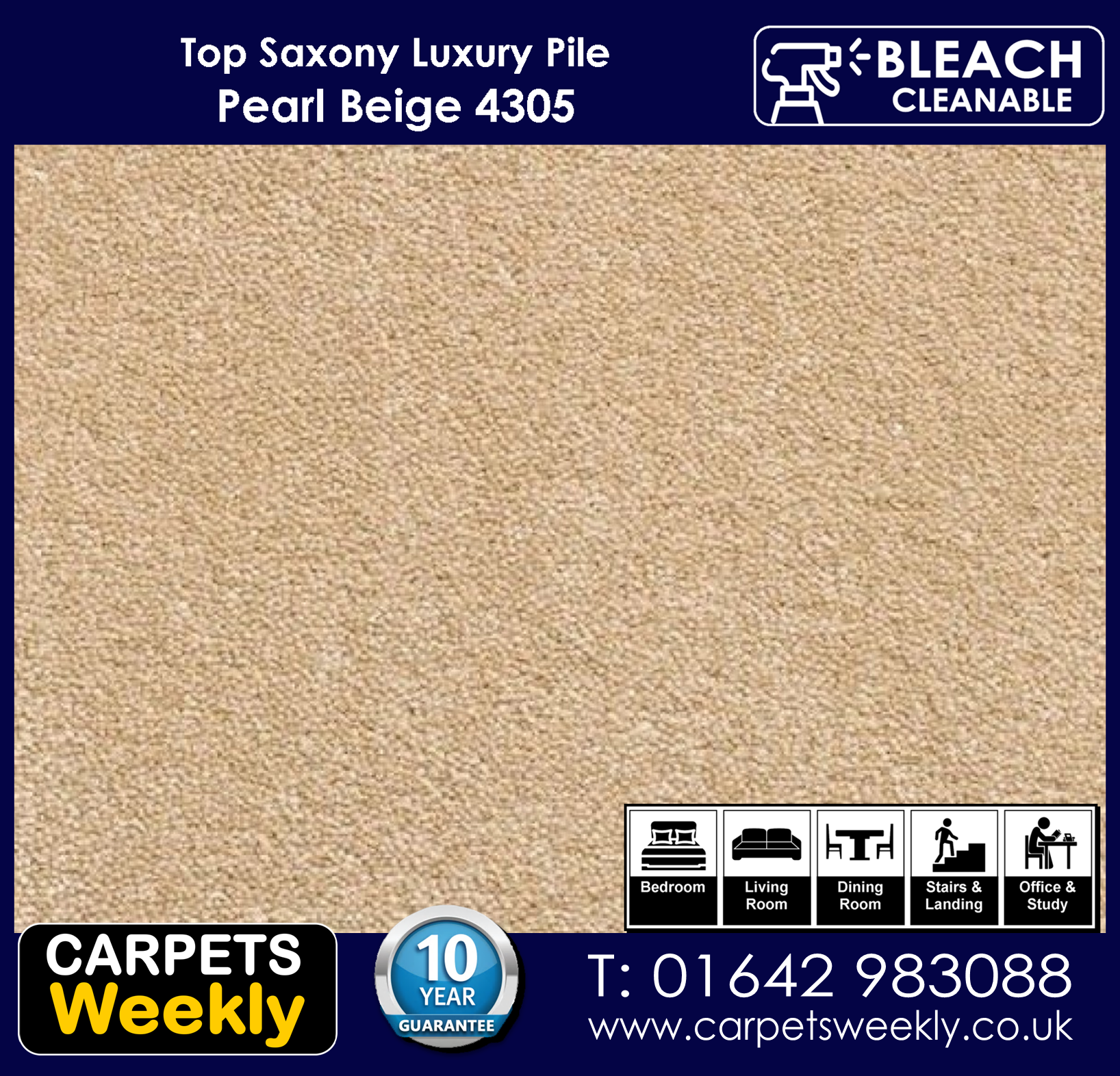 PEARL BEIGE 4305 Top Saxony from Carpets Weekly