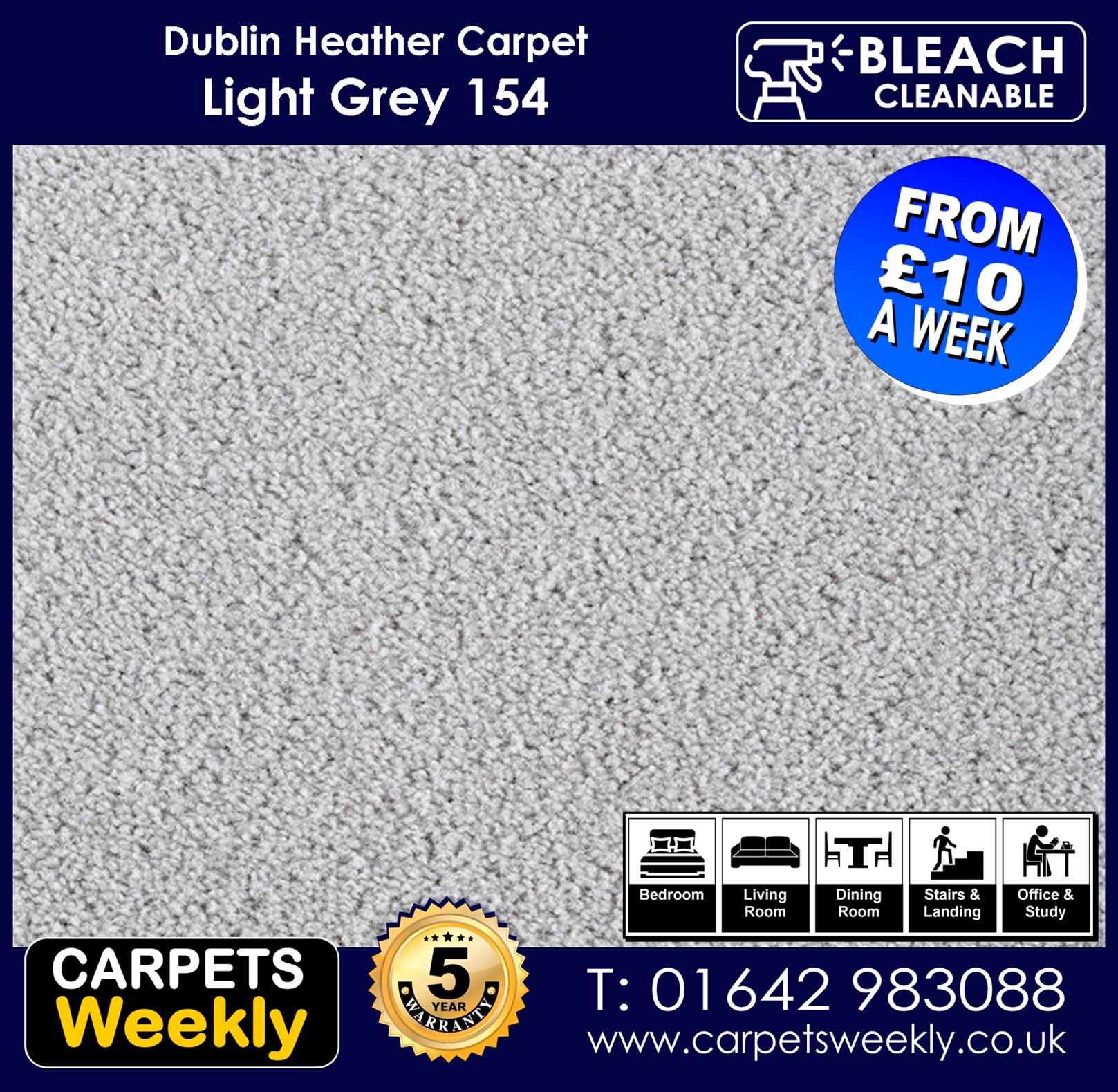 Carpets Weekly Dublin Heather Light grey - 154 mid range carpet