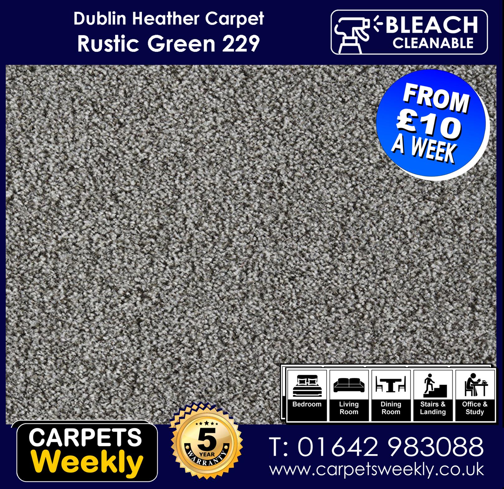 Carpets Weekly Dublin Heather Rustic Green - 229 mid range carpet