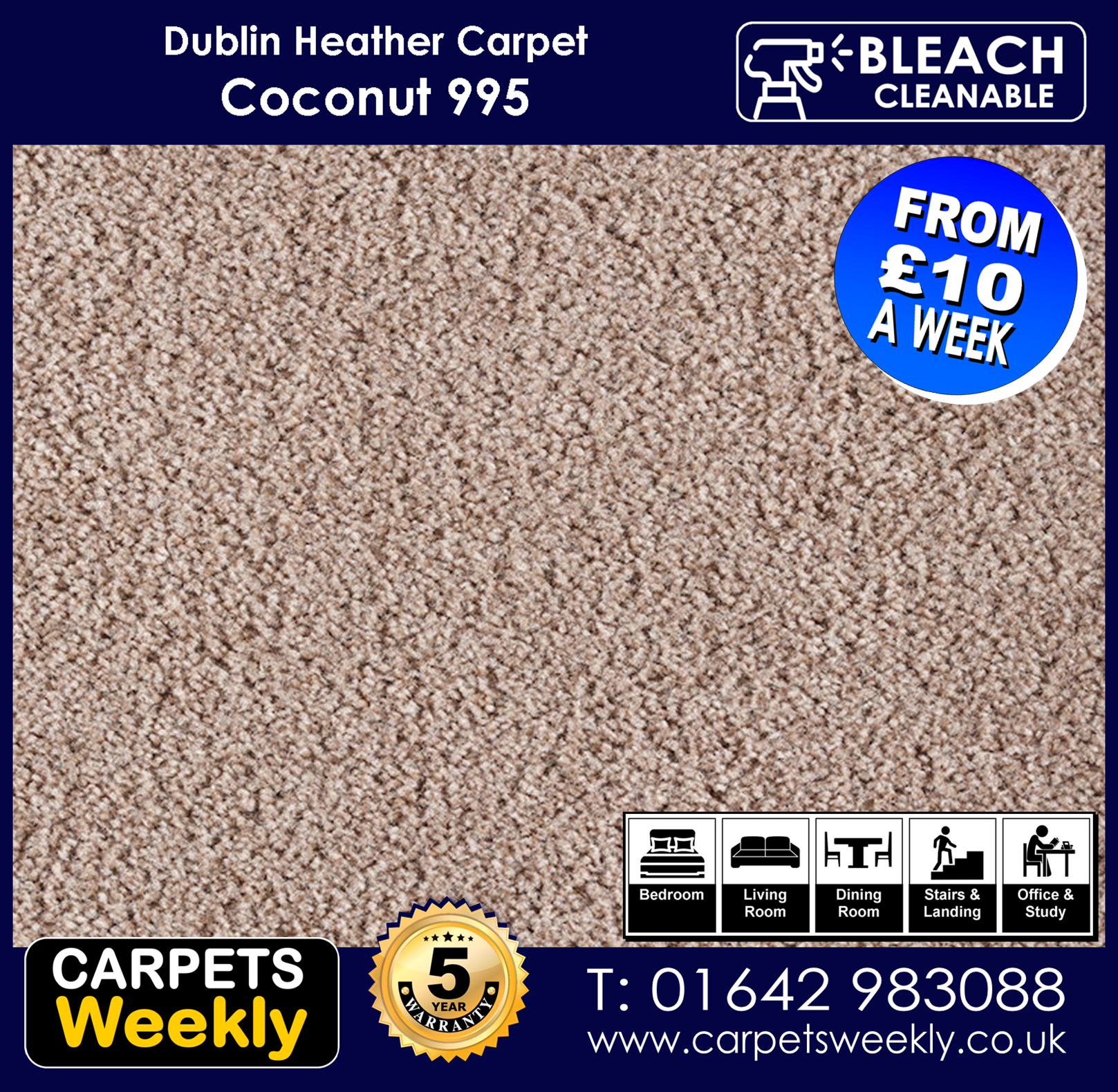 Carpets Weekly Dublin Heather Coconut 995  mid range carpet