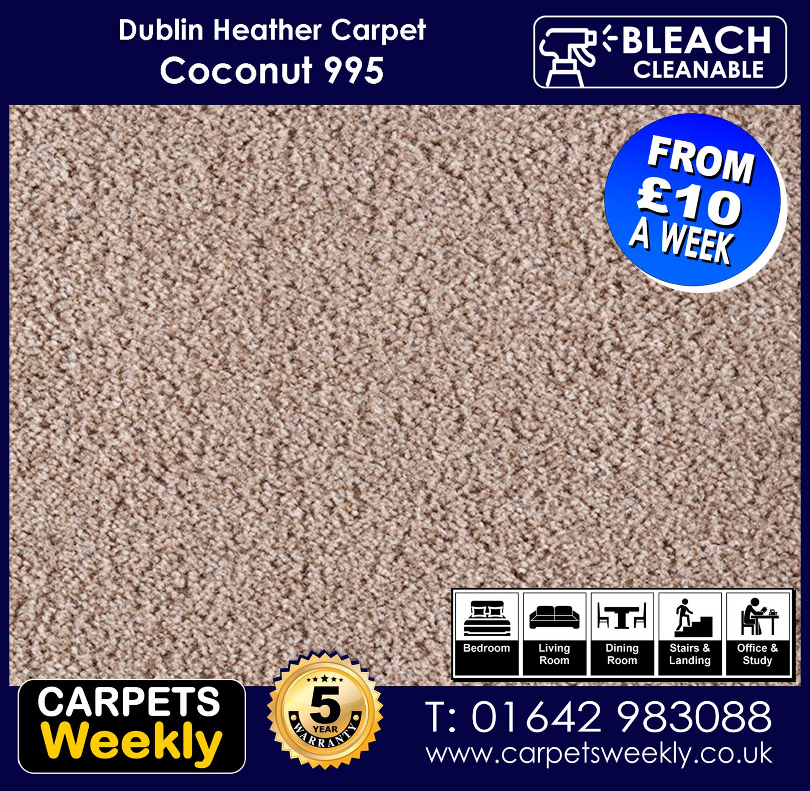 Carpets Weekly Dublin Heather Coconut 995  mid range carpet