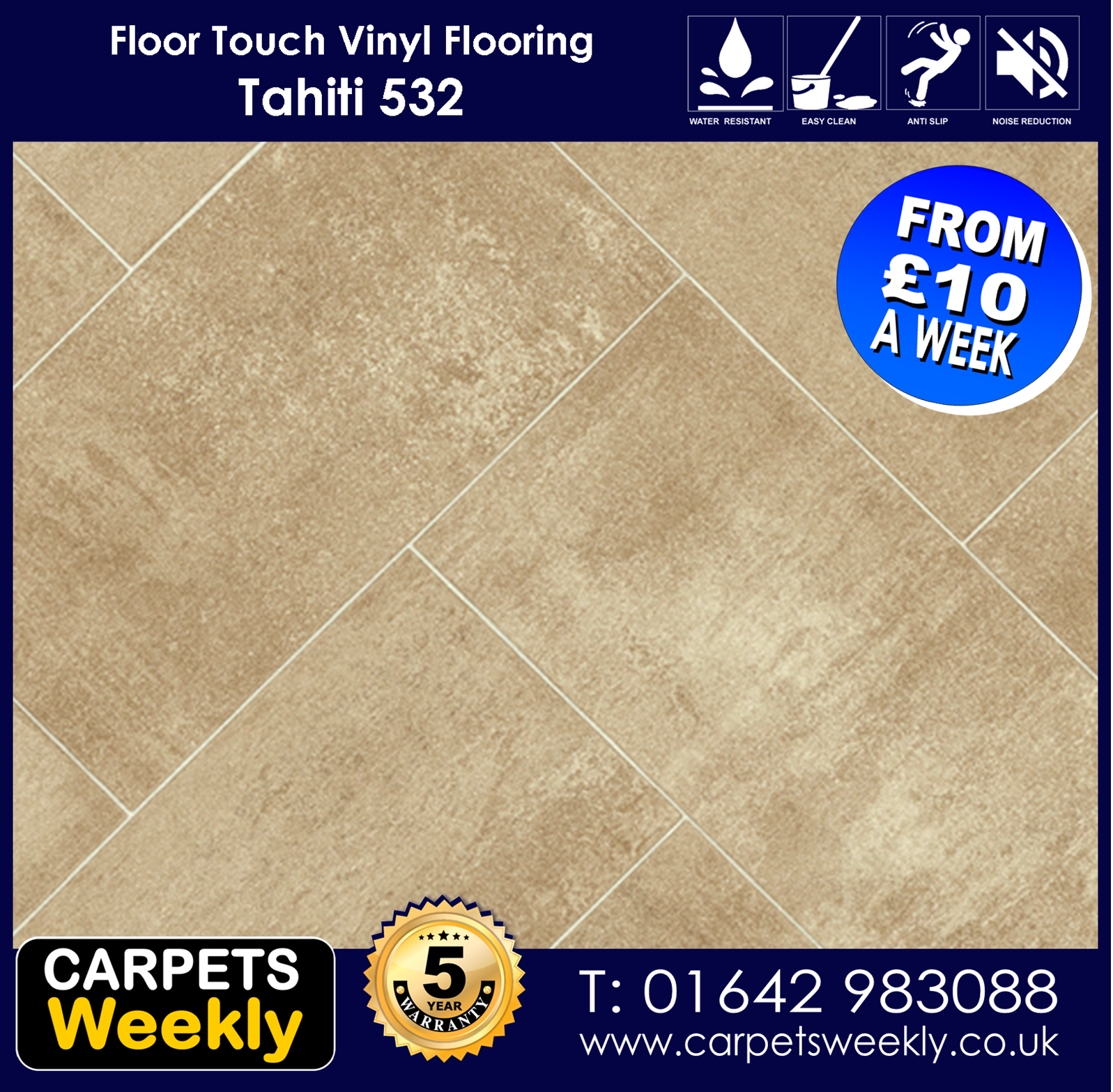 Tahiti 532 Vinyl Flooring by Floor Touch from Carpets Weekly