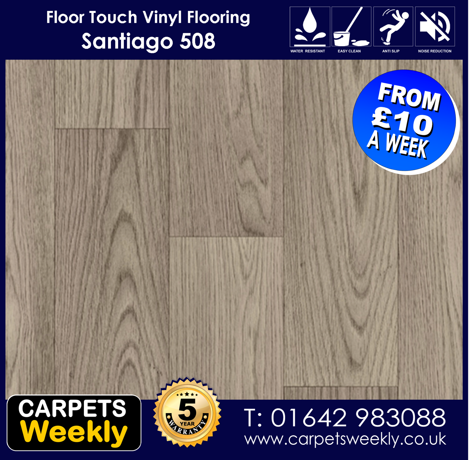 Santiago 508 Vinyl Flooring by Floor Touch from Carpets Weekly