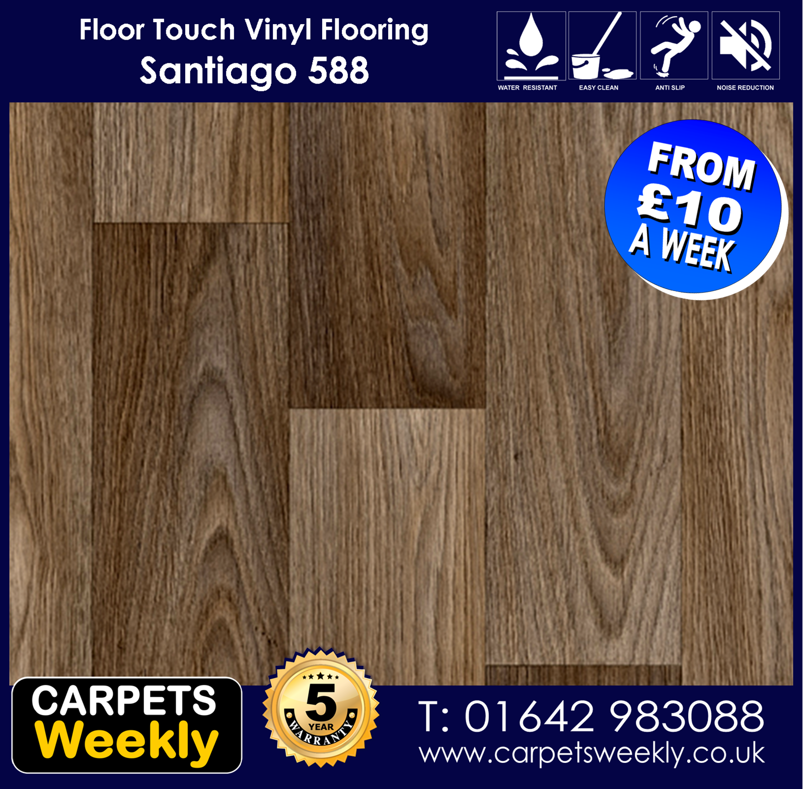 Santiago 588 Vinyl Flooring by Floor Touch from Carpets Weekly