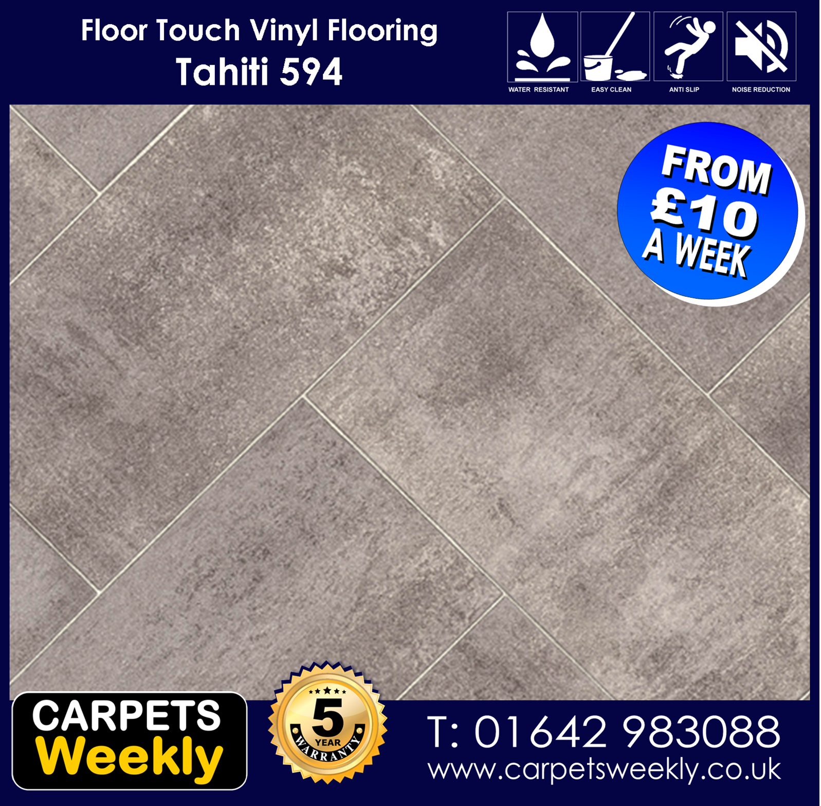 Tahiti 594 Vinyl Flooring by Floor Touch from Carpets Weekly