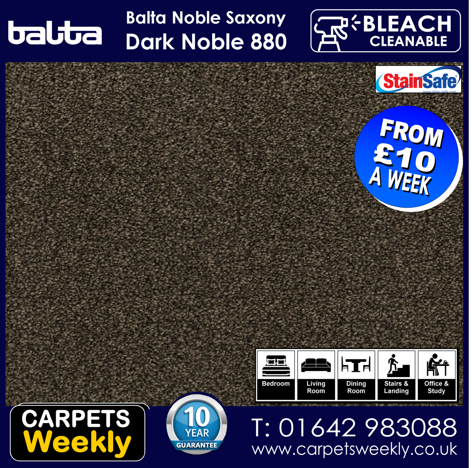Noble Shepherd Saxony Carpet from Carpets Weekly. Dark Noble 880
