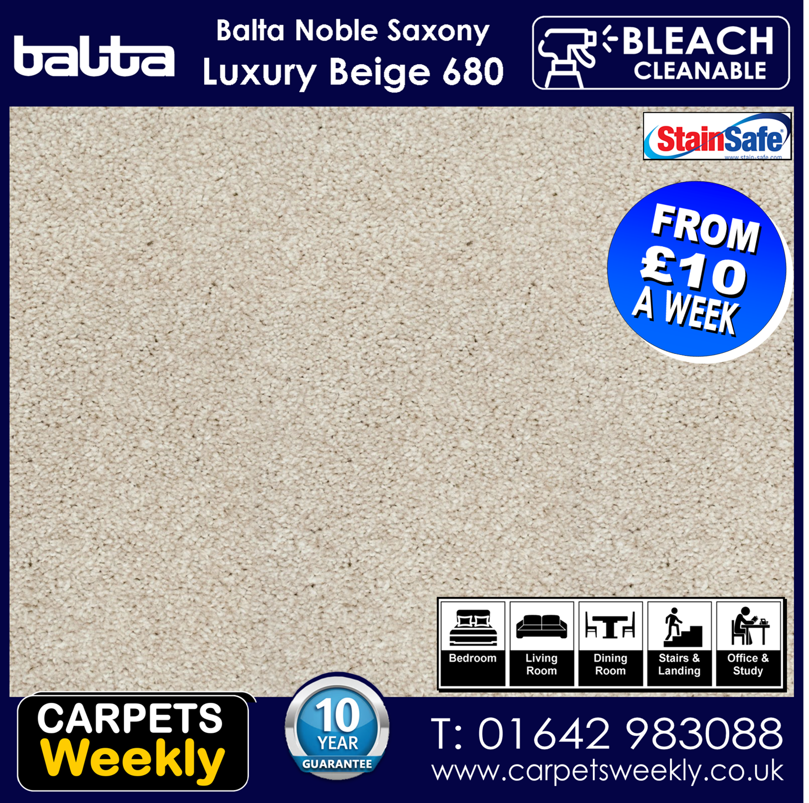 Noble Shepherd Saxony Carpet from Carpets Weekly. Luxury Beige 680