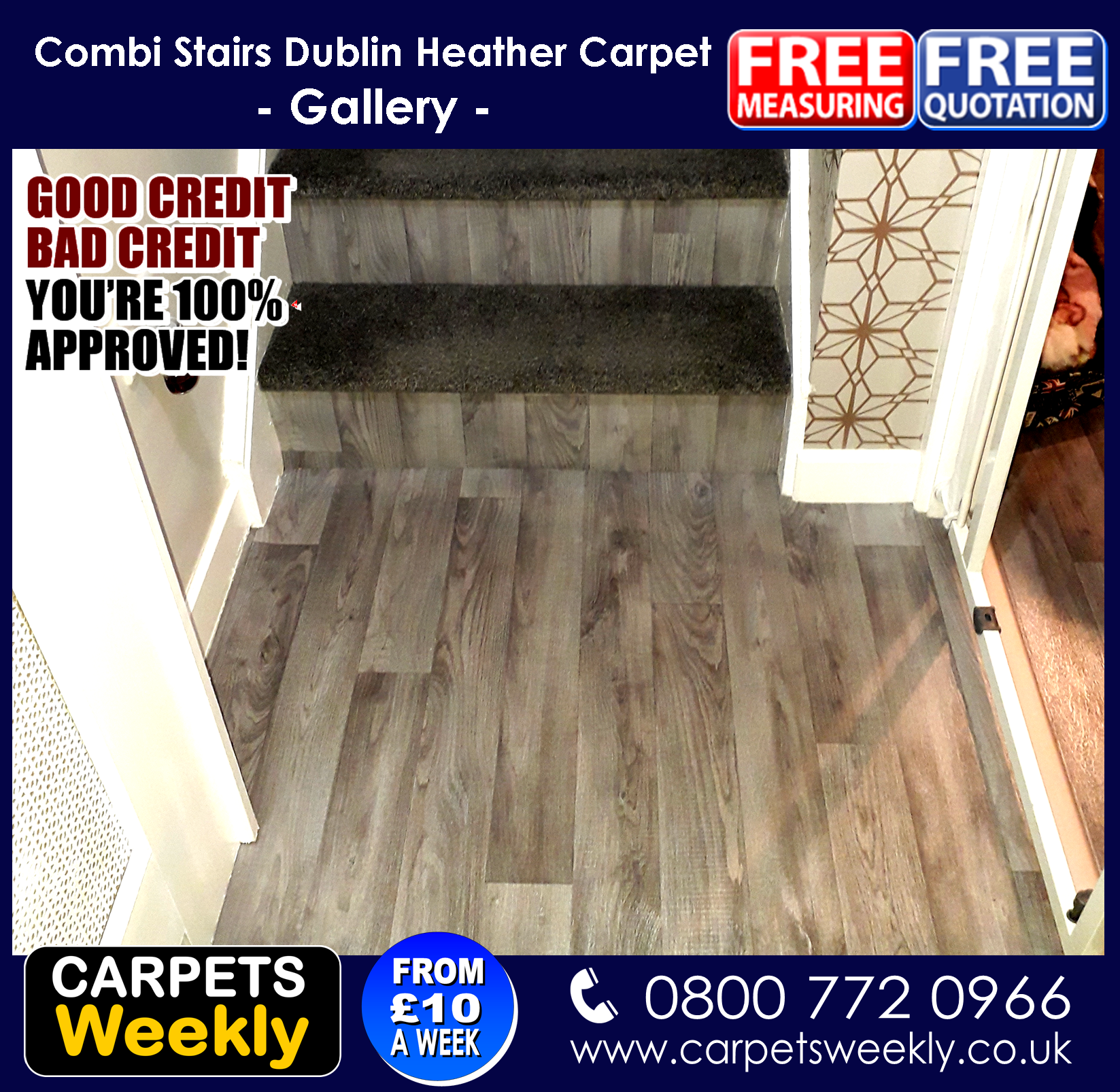 Dublin Heather Shadows and Sandiargo Vinyl Combi Stairs (c) from Carpets Weekly