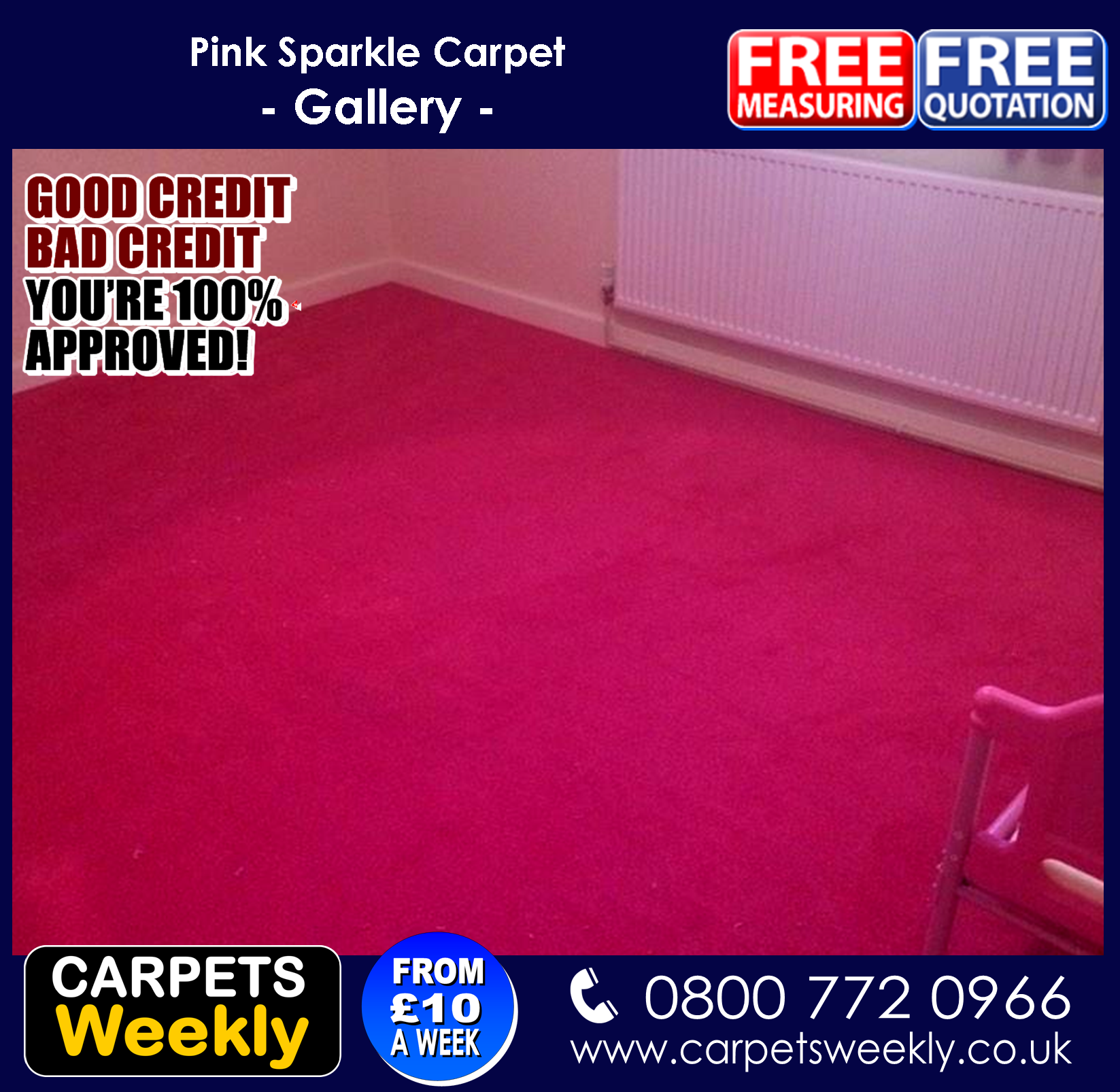 Pink Sparkle Carpet from Carpers Weekly