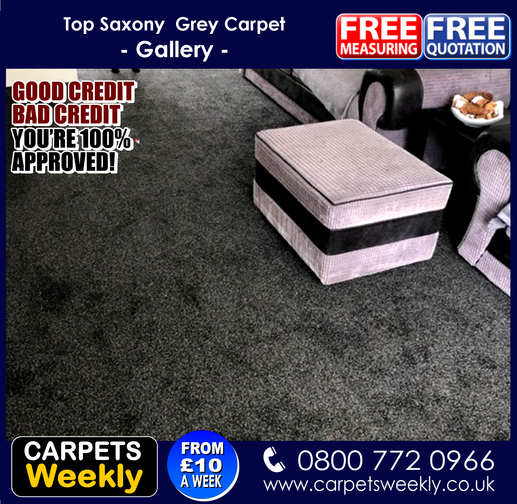Top Saxony Grey Carpet from Carpers Weekly