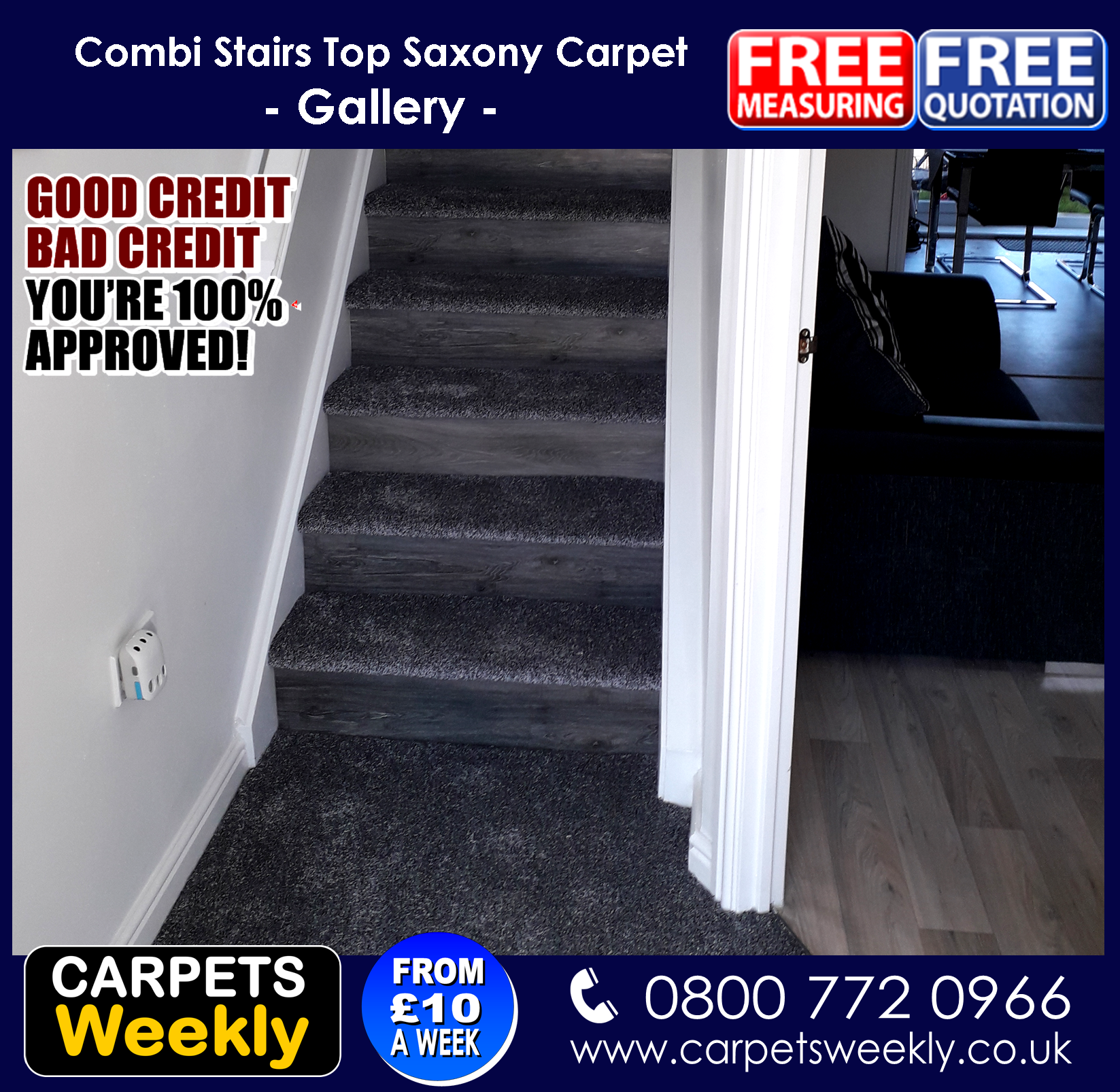 Carpets Weekly  Combi Stairs with Apollo Grey and NEW LVT facings