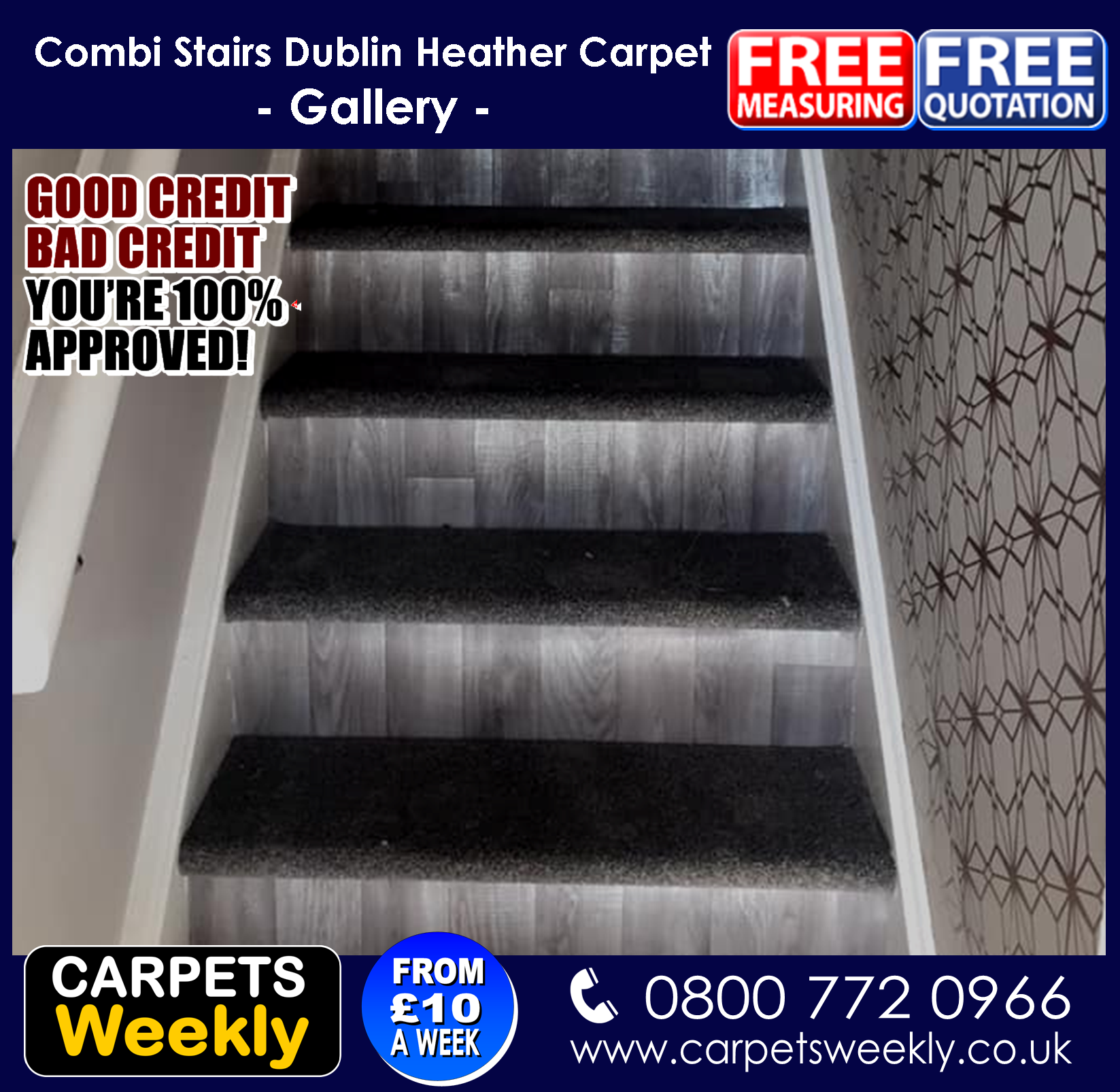 Dublin Heather Carpet and Sandiargo Vinyl Combi Stairs (a)from Carpets Weekly