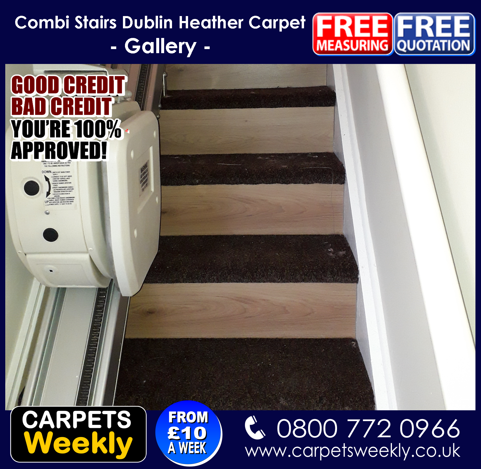 Dublin Heather and Sandiargo Vinyl Combi Stairs (a)from Carpets Weekly
