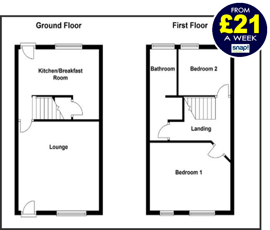 2 bedroom full house deal from Carpets Weekly from £21 a week
